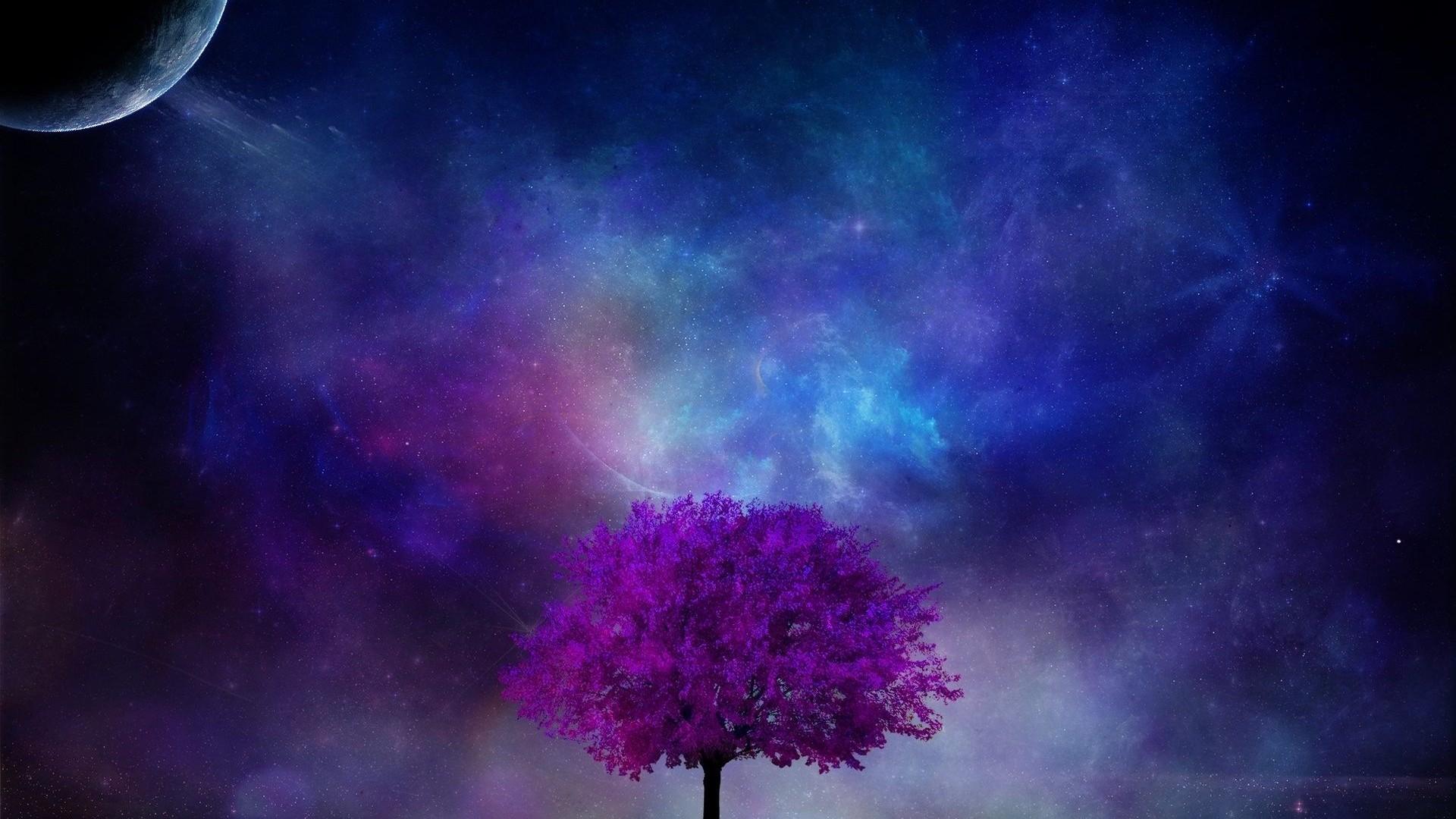 Res: 1920x1080, Künstlerisch - Baum Künstlerisch Fantasy Lila Blau Wolke Planet Wallpaper