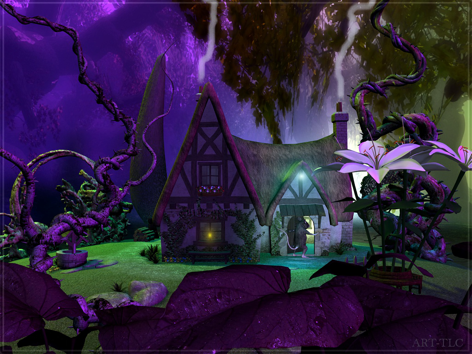 Res: 1920x1440, Artistic - House Artistic Fantasy Forest Purple Tree Flower Wallpaper