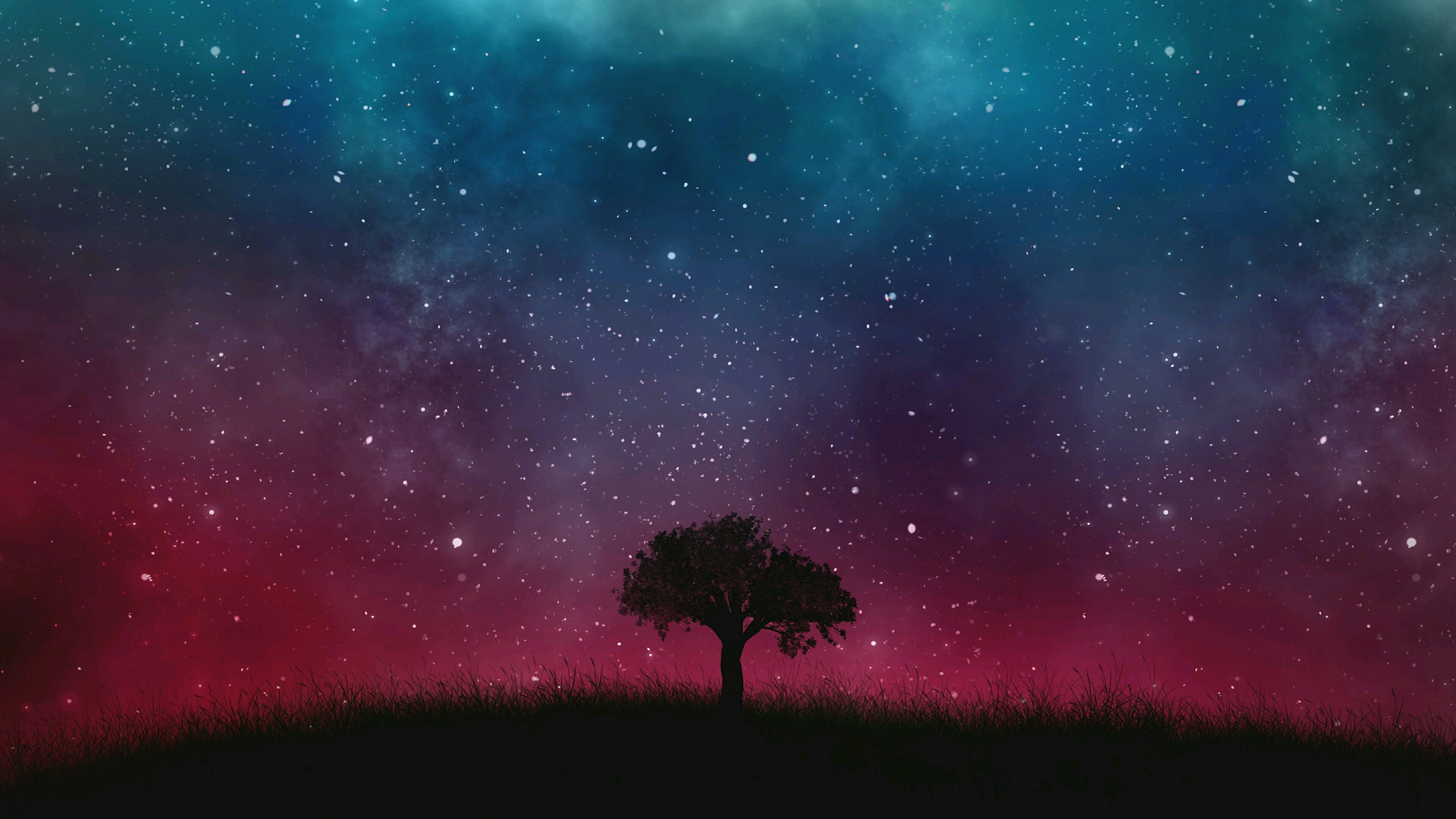 Res: 3840x2160, Lone Tree Under The Starry Sky - Fantasy Art Wallpaper | Wallpaper Studio  10 | Tens of thousands HD and UltraHD wallpapers for Android, Windows and  Xbox