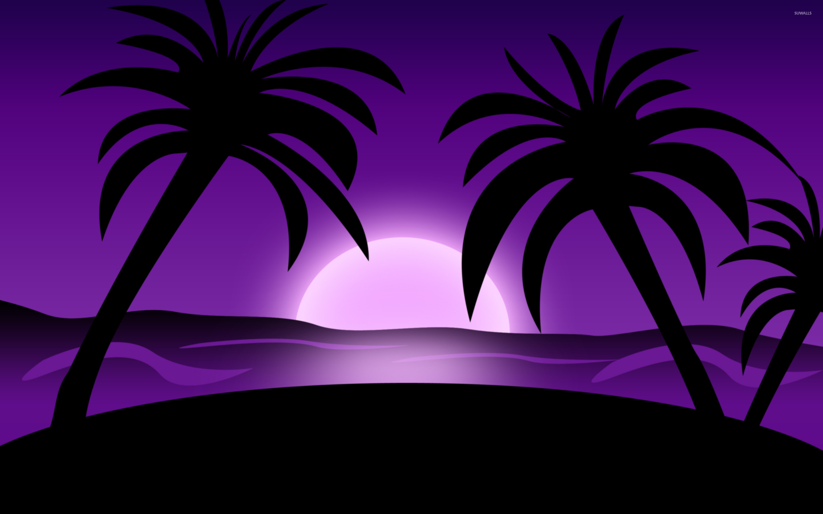 Res: 2880x1800, Purple sunset on the beach wallpaper