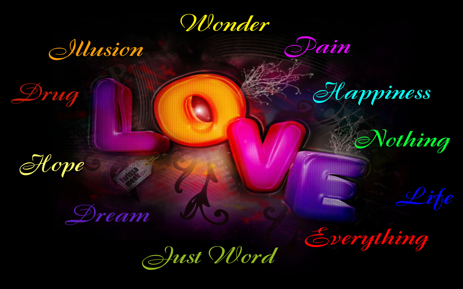 Res: 1920x1200, Artistic - Love Artistic Word Colors Colorful Wallpaper