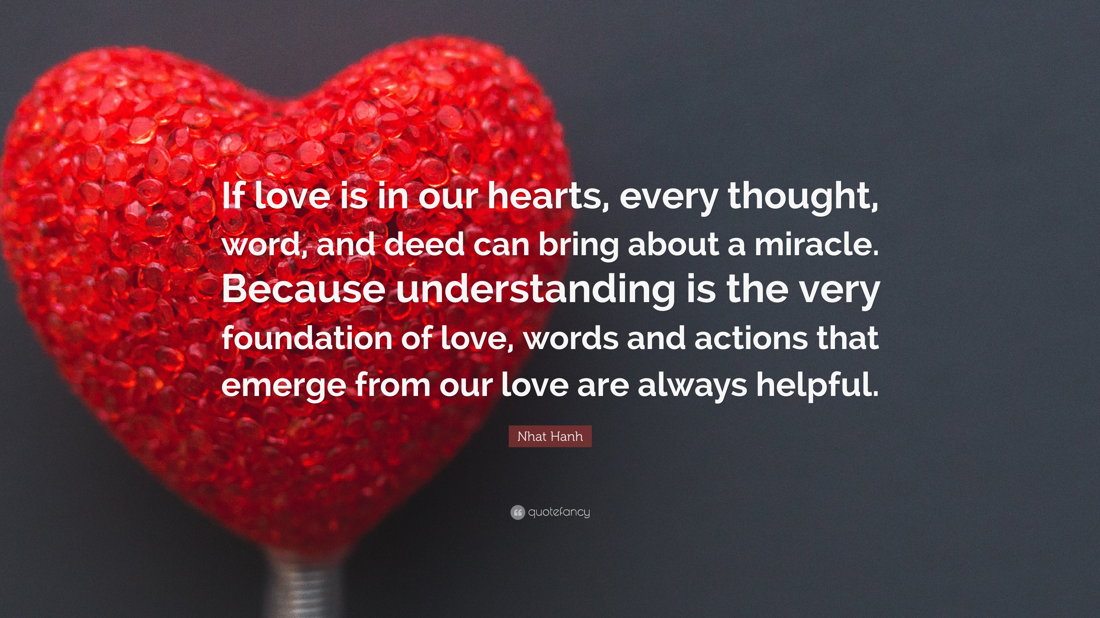 """Res: 3840x2160, Nhat Hanh Quote: """"If love is in our hearts, every thought, word"""