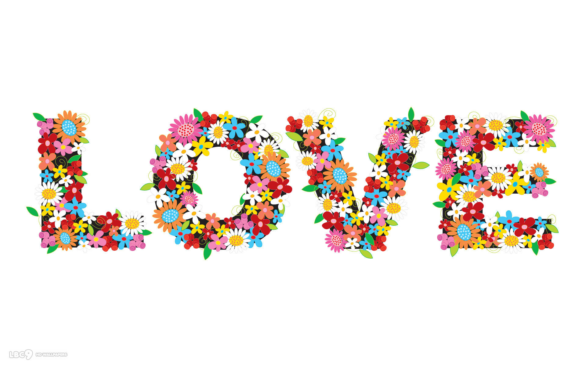 Res: 1920x1200, love word vector flowers colors white simplistic hd wallpaper