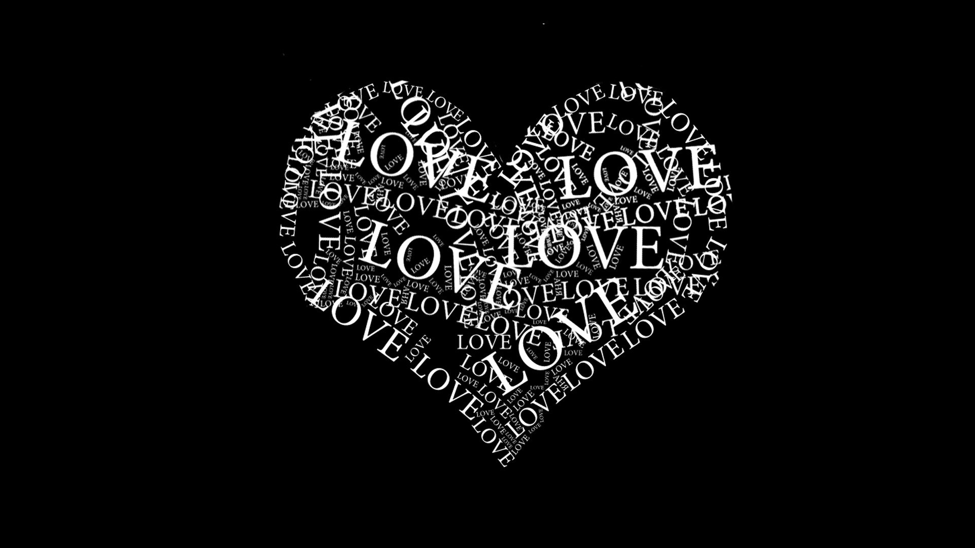 Res: 1920x1080, The Word Love in Black and White Wallpaper 1080p