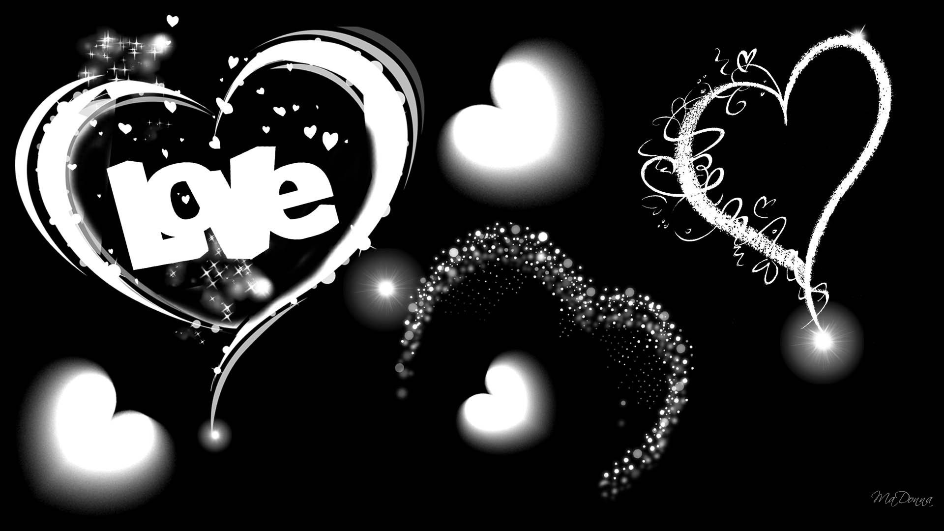 Res: 1920x1080, The Word Love in Black and White Wallpaper