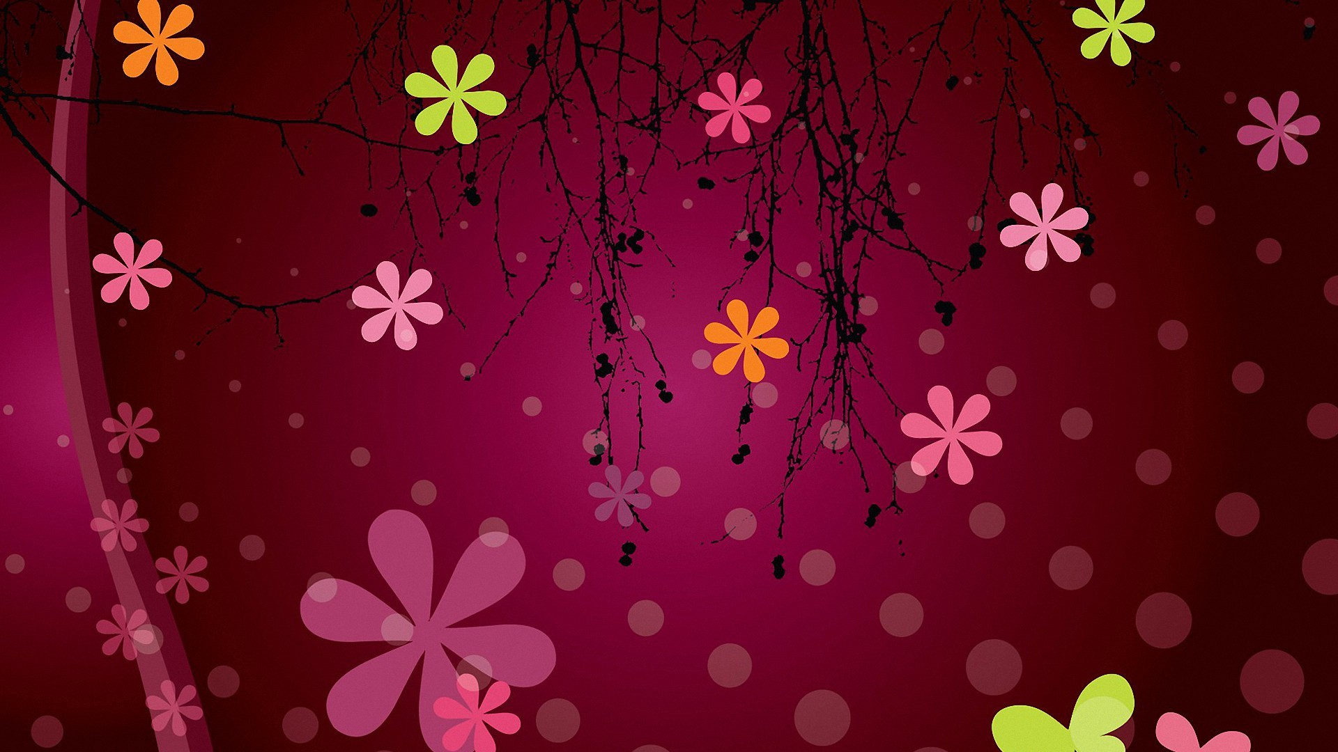 Res: 1920x1080, colorful vector flower pattern