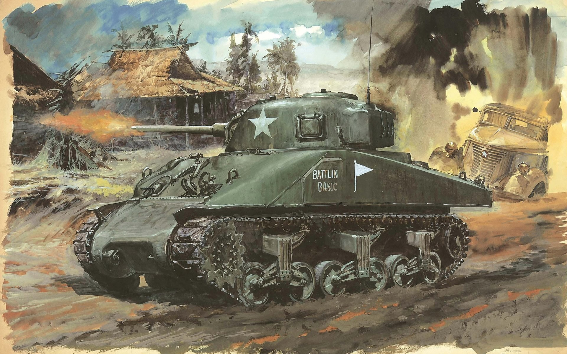 Res: 1920x1200, art picture strokes pencils tank sherman m4a1 main american medium is  widely was used to army
