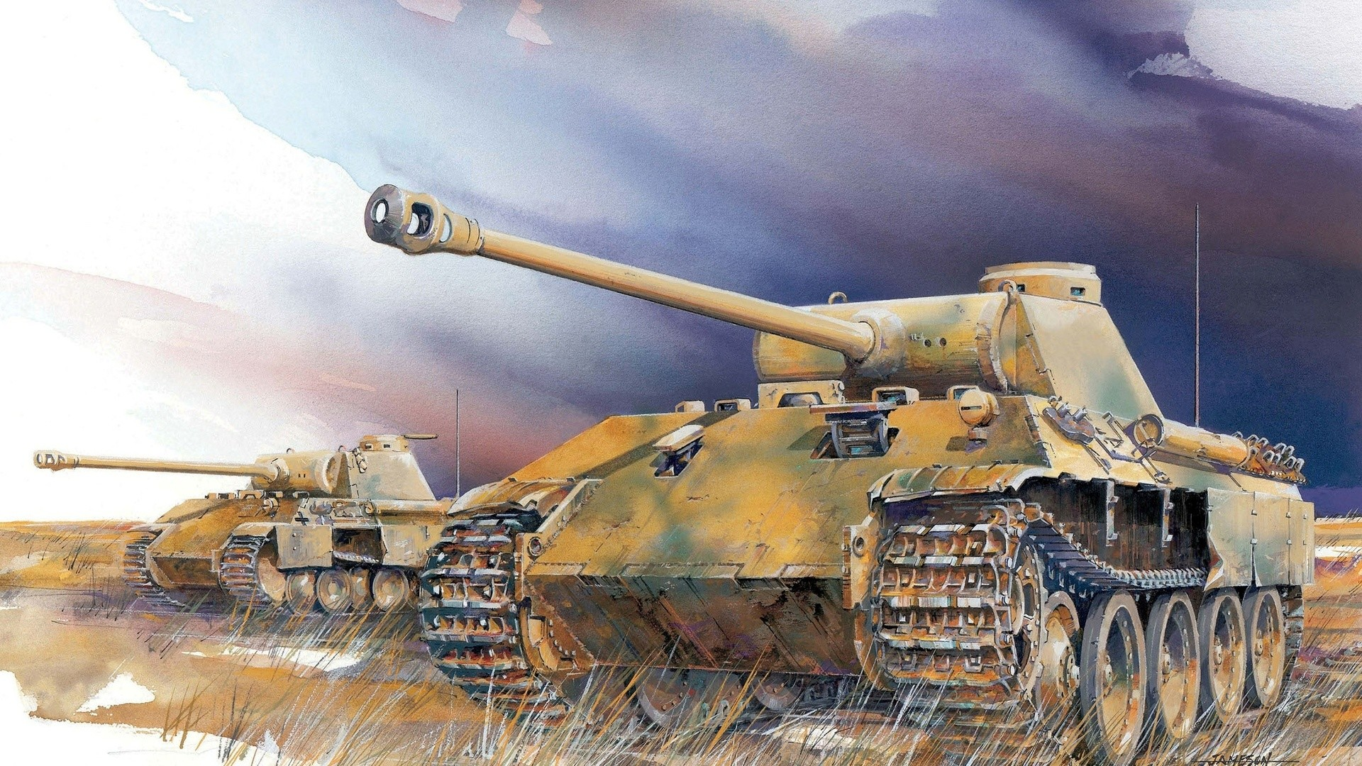 Res: 1920x1080, Art, Tanks, Panther Ausf. D., Heavy, Field, German,