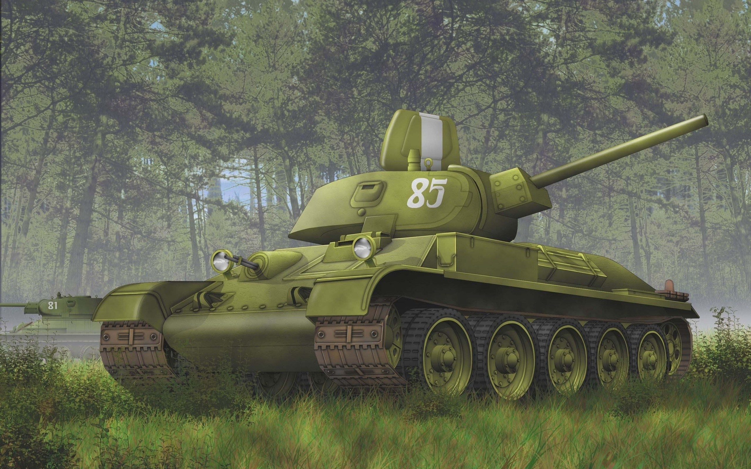 Res: 2560x1600, Soviet, The T-34 76, Tank, Forest, Ww2