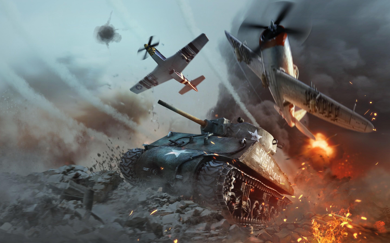 Res: 2880x1800, War Thunder, M4 Sherman, online game, war, American tank, World War