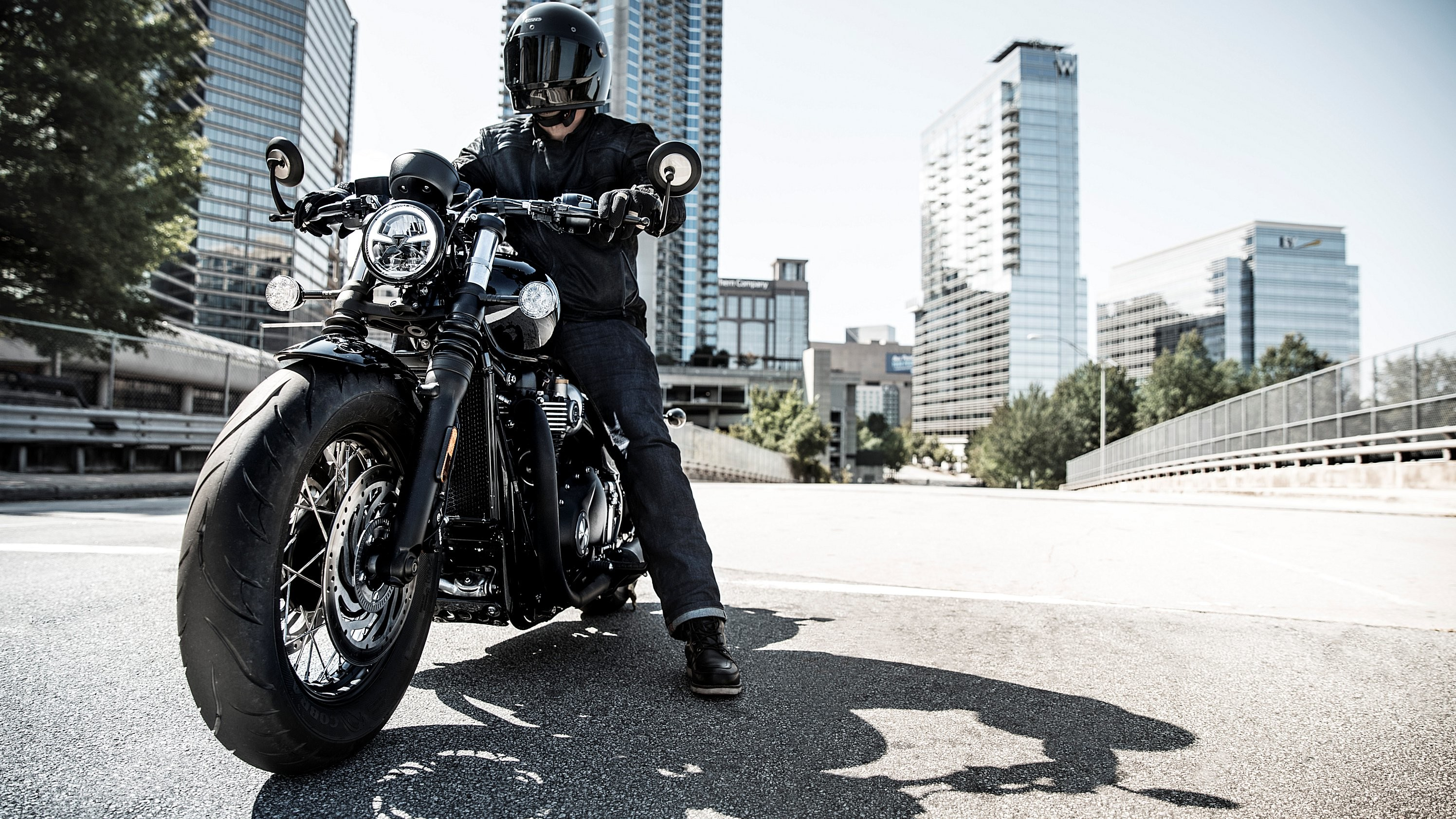 """Res: 2992x1683, Triumph expands its record-setting Bonneville Bobber range this year with  the new-for-2018 Bonneville Bobber Black. The """"Black"""" builds on that  success with ..."""