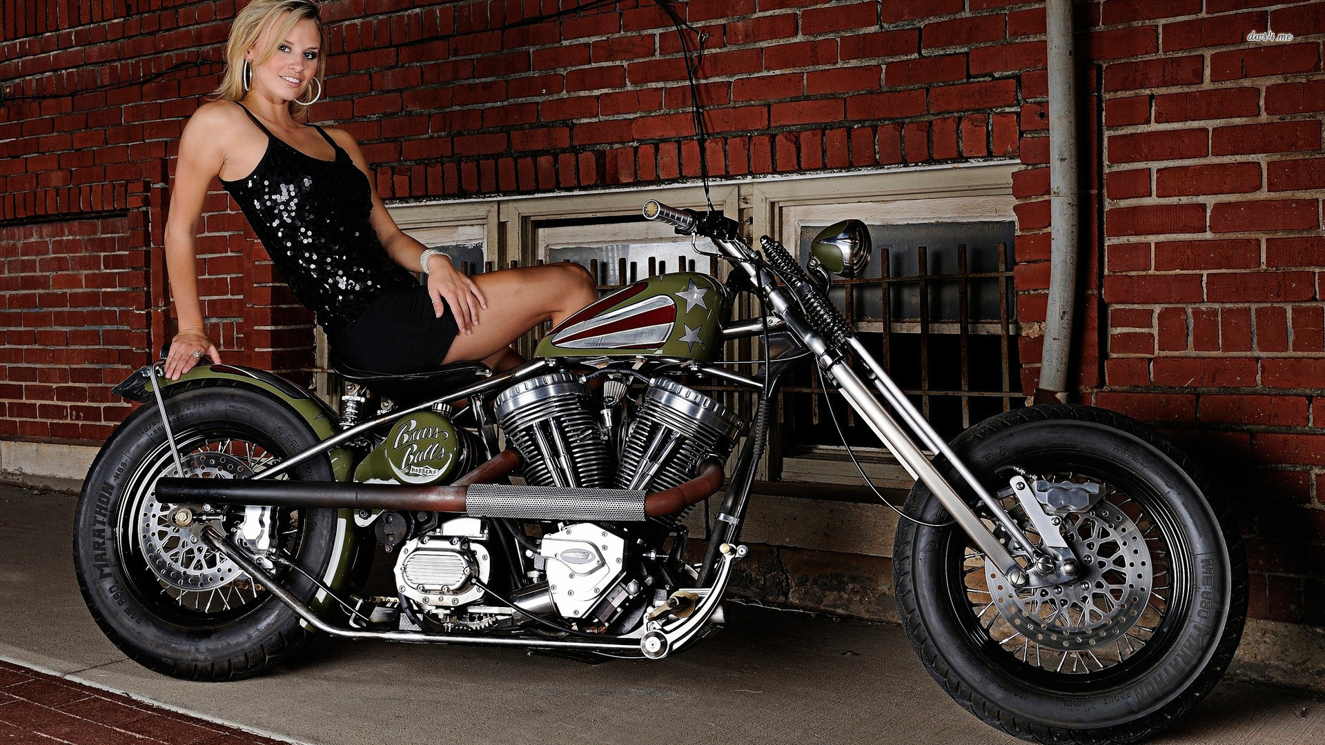 Res: 1920x1080, ... Woman with Brass Balls Bobbers bike wallpaper  ...