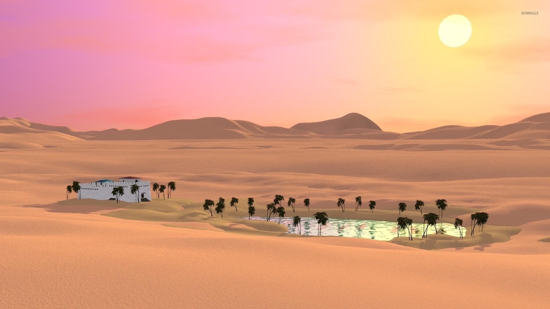 Res: 1920x1080, Oasis in the desert wallpaper