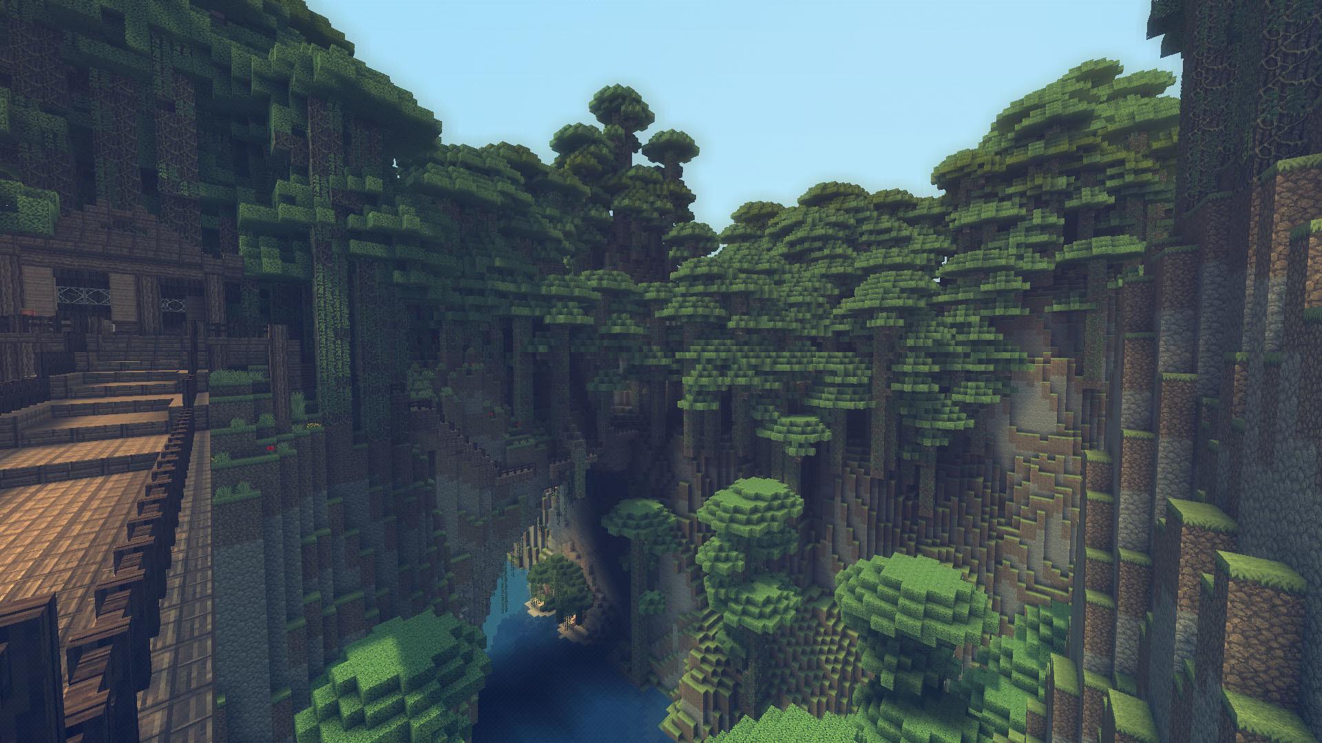 Res: 1920x1080,  Minecraft Mountain Oasis Wallpaper