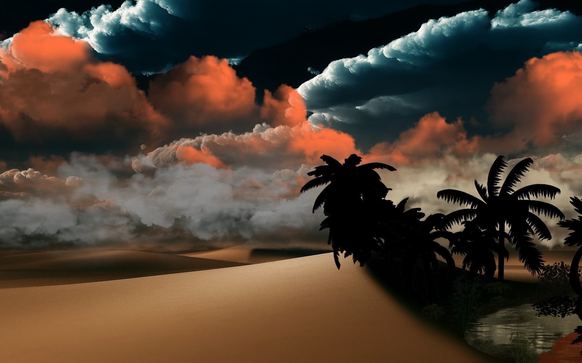 Res: 1920x1200, sand dunes and oasis wallpaper, sky, clouds, desert, palm trees HD wallpaper