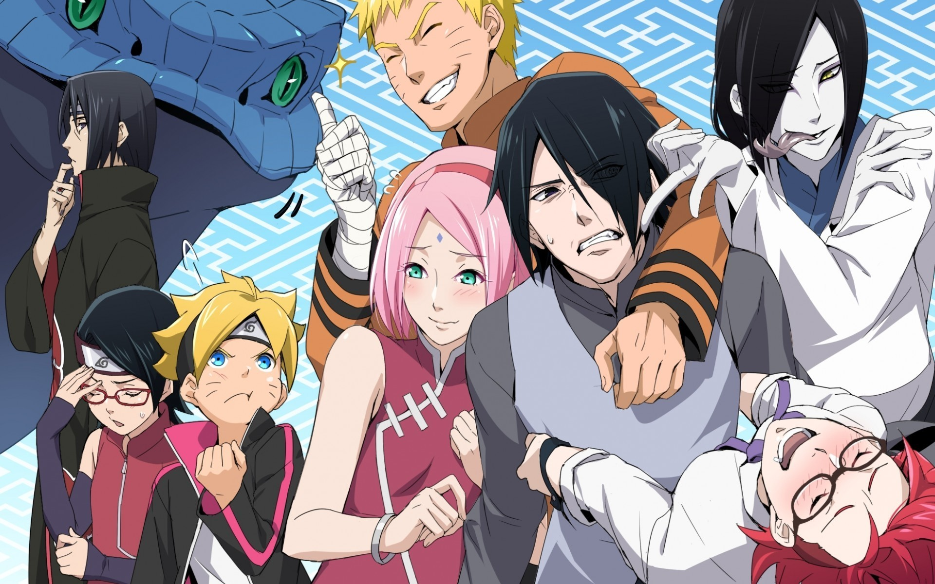 Res: 1920x1200, Haruno Sakura, Uzumaki Naruto, Uchiha Sarada, Orochimaru