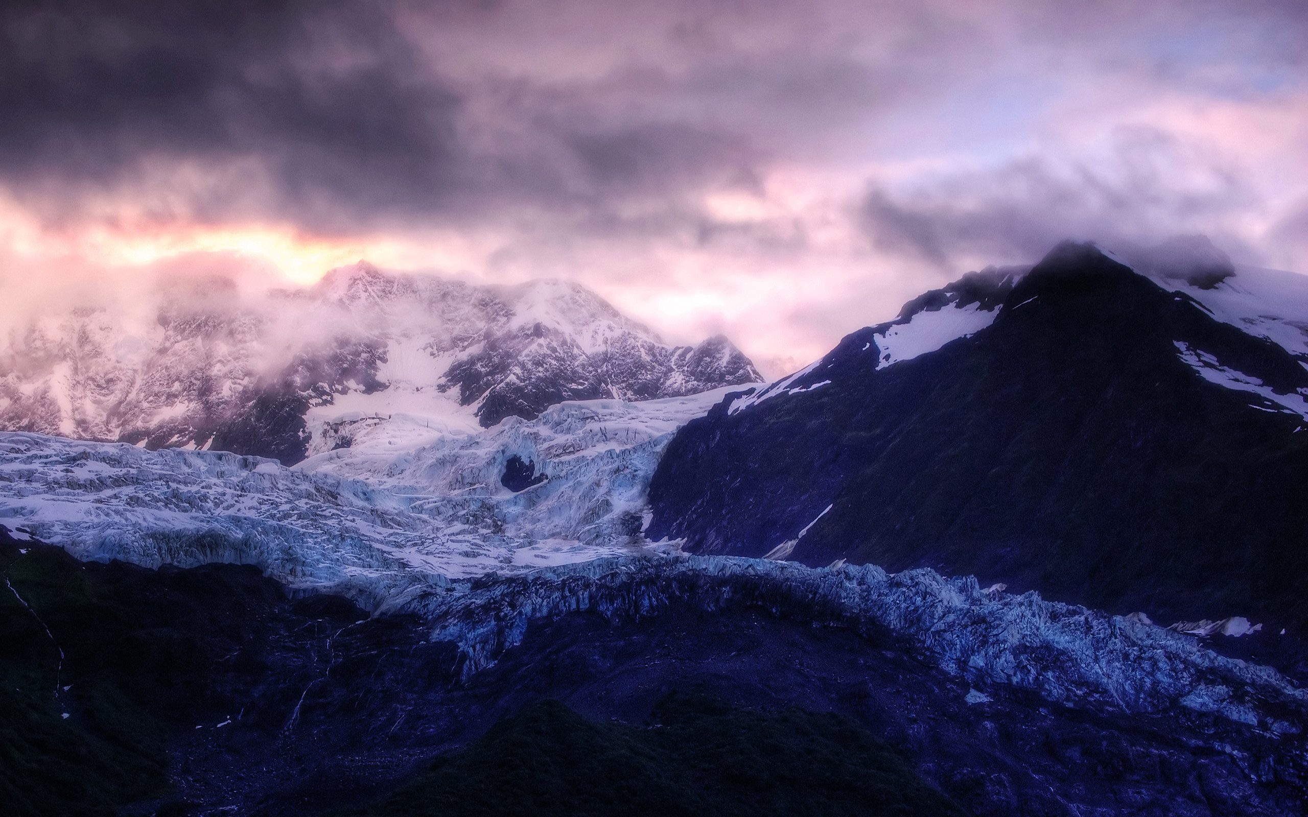 Res: 2560x1600, Glacier Sunrise Wallpaper