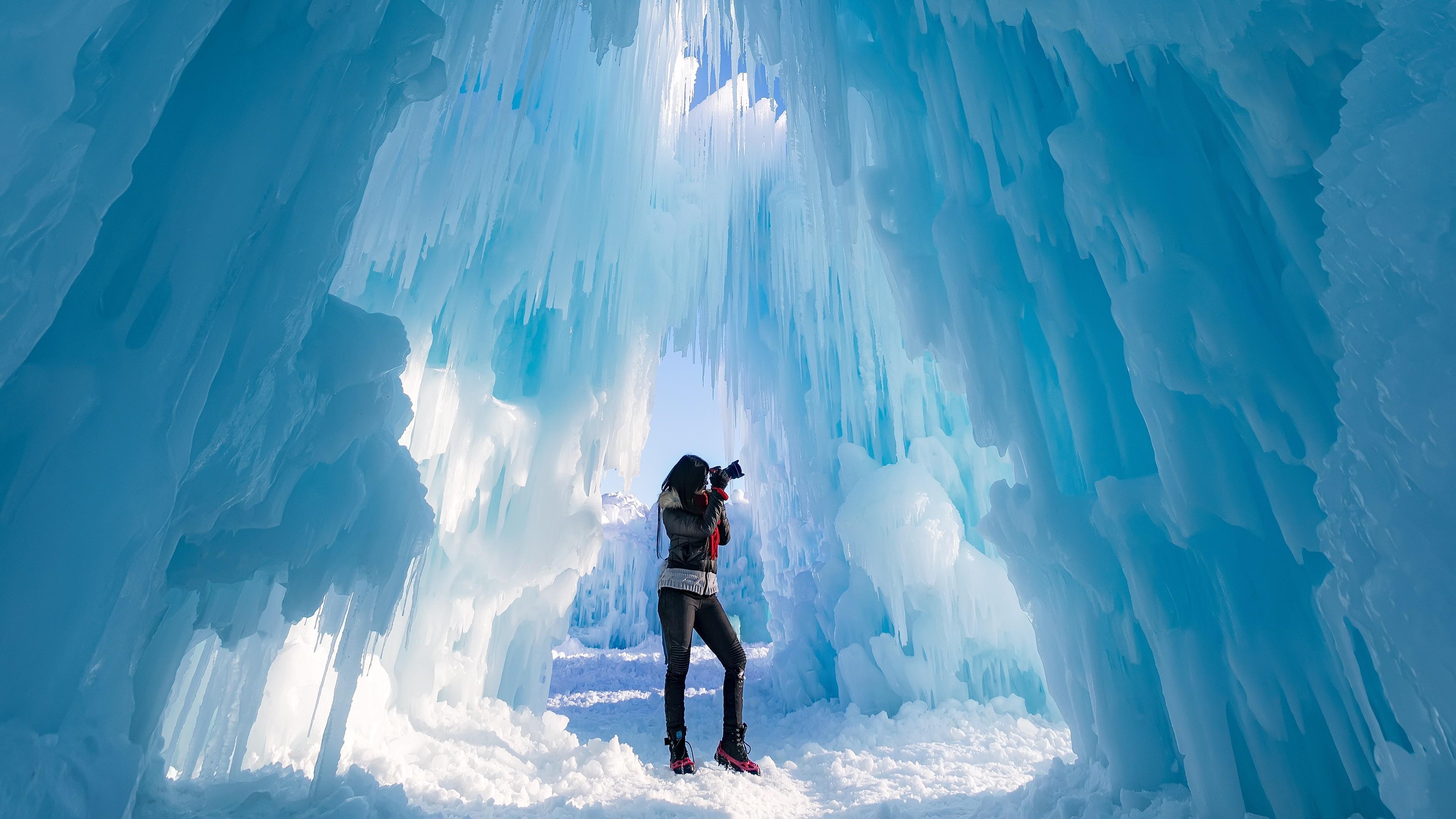Res: 3840x2160,  Wallpaper ice castle, photographer, ice, glacier
