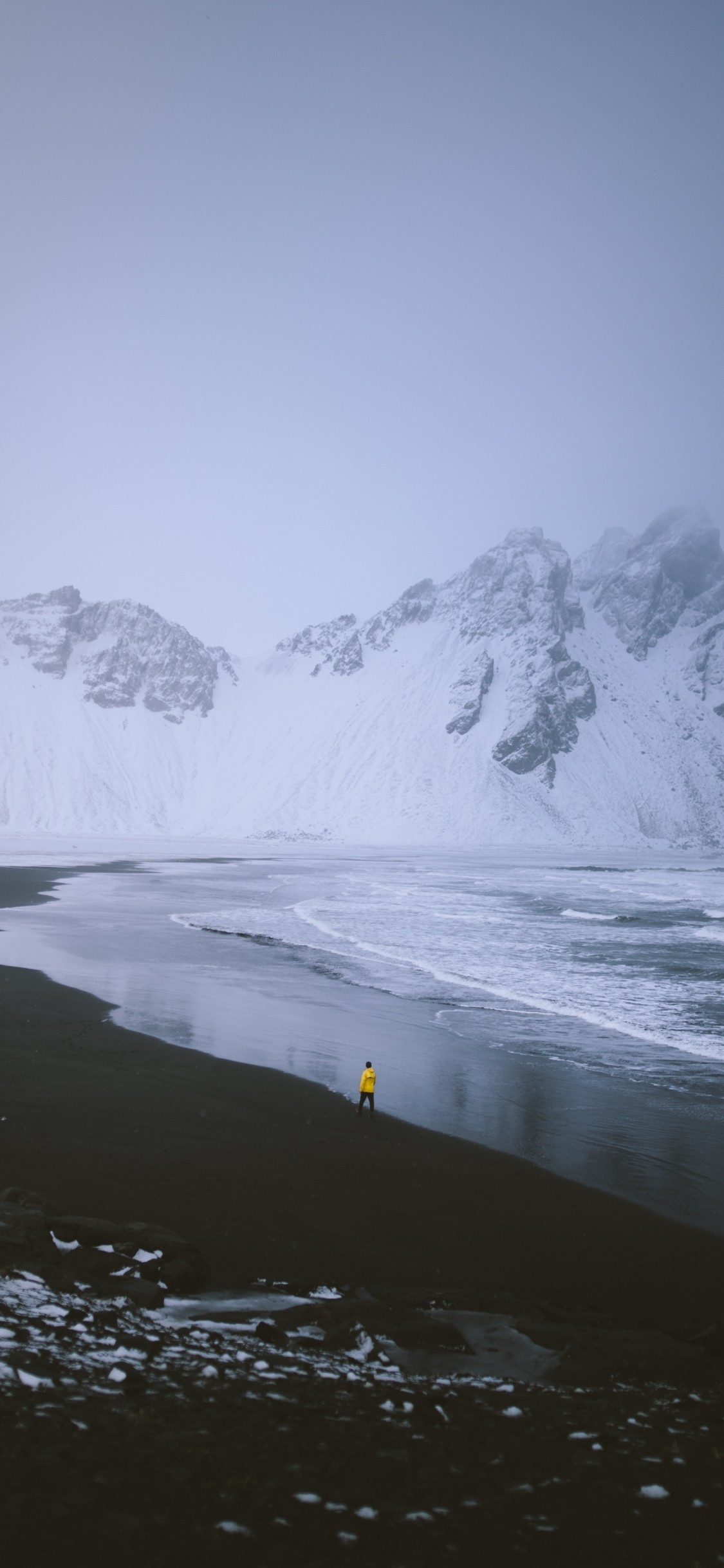 Res: 1125x2436, Iceland, Snow, Mountain, Lonely Man, Glacier
