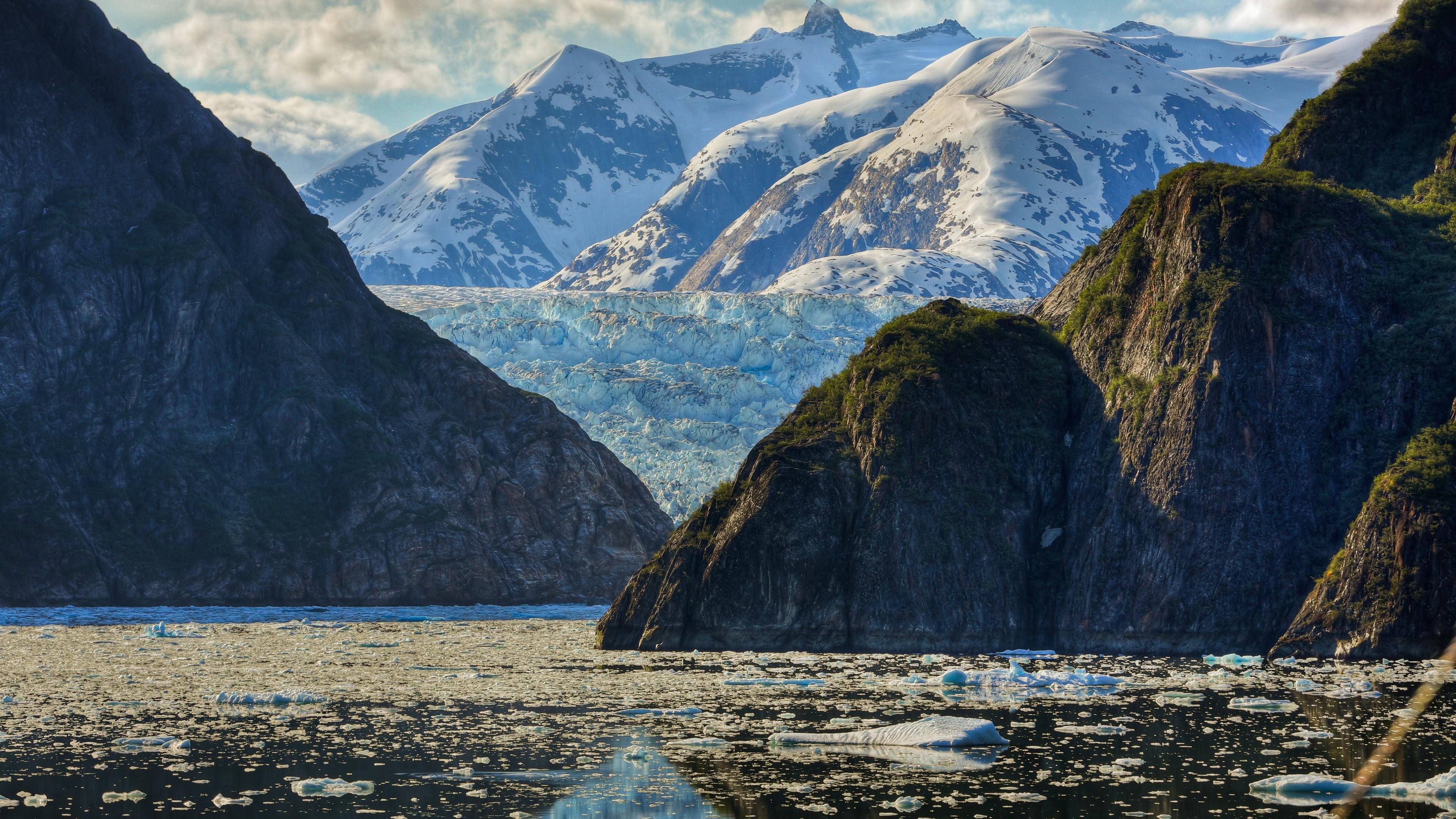 Res: 3840x2160,  Wallpaper mountain, sea, glacier