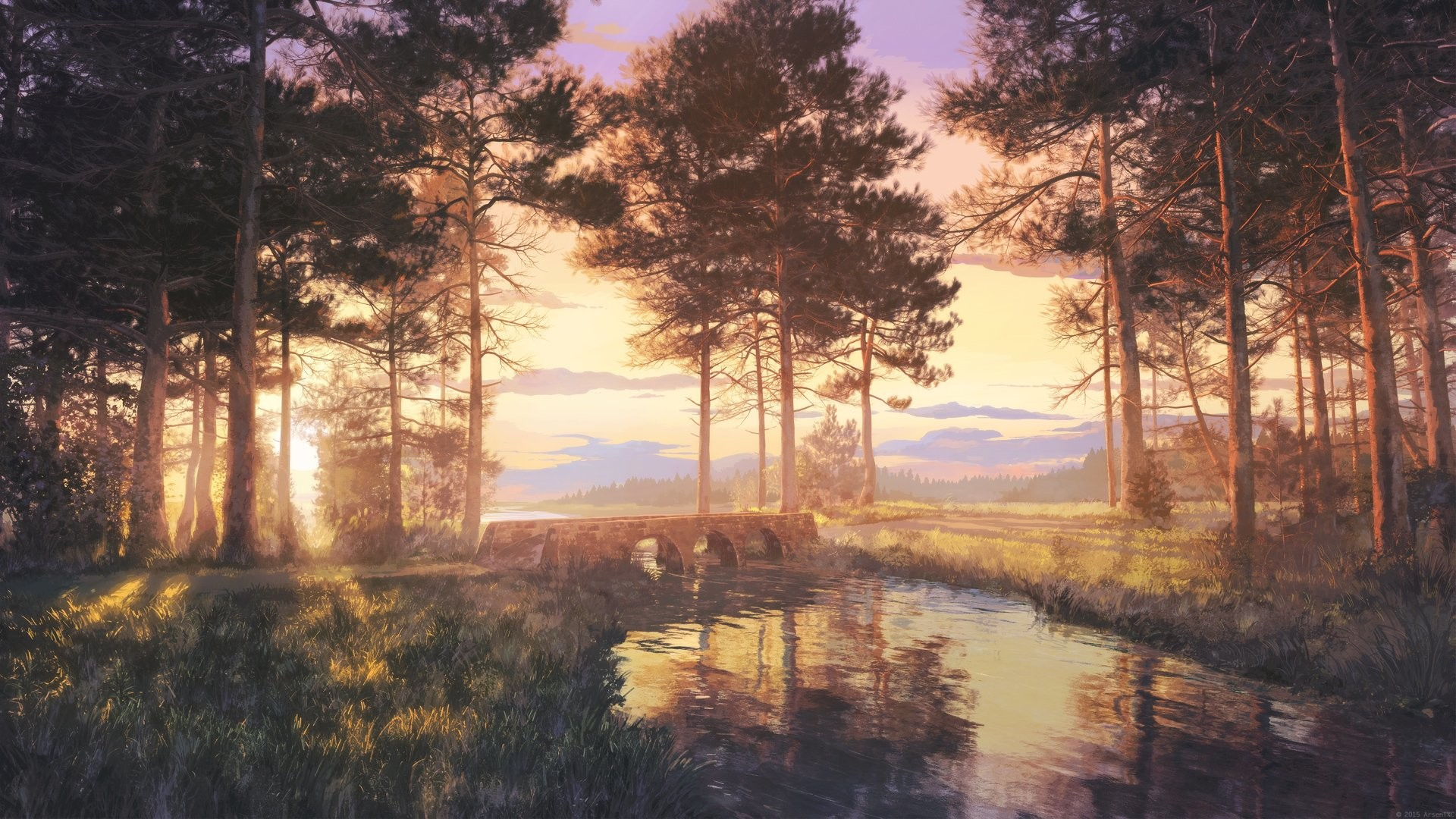 Res: 1920x1080, Anime beautiful landscape nature scan forest sunlight lake wallpaper |   | 648651 | WallpaperUP