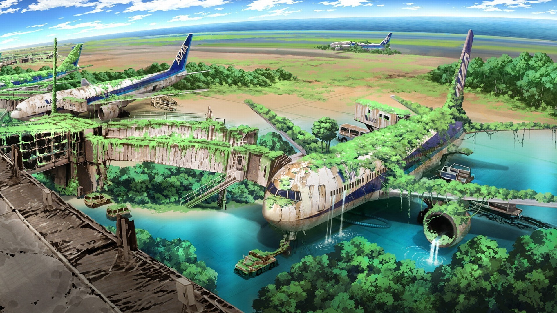 Res: 1920x1080, apocalyptic, Airplane, Nature, Anime, Aircraft, Drawing Wallpapers HD /  Desktop and Mobile Backgrounds