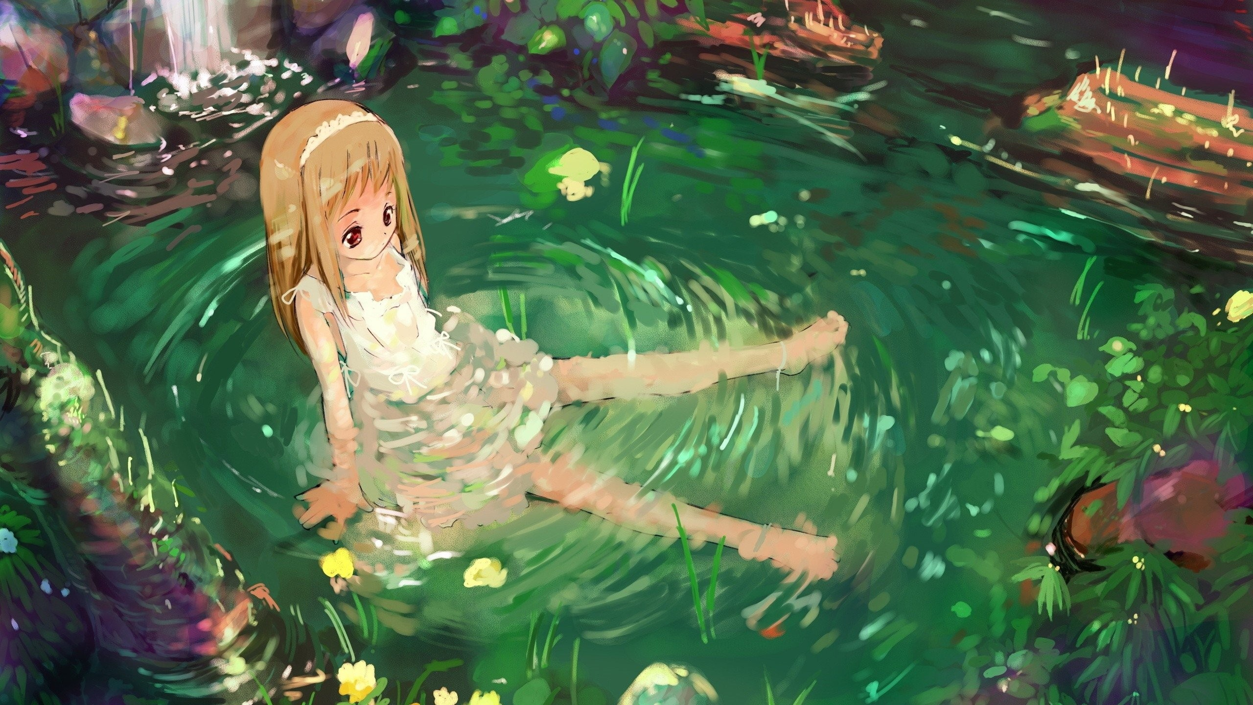 Res: 2560x1440, anime girl nature