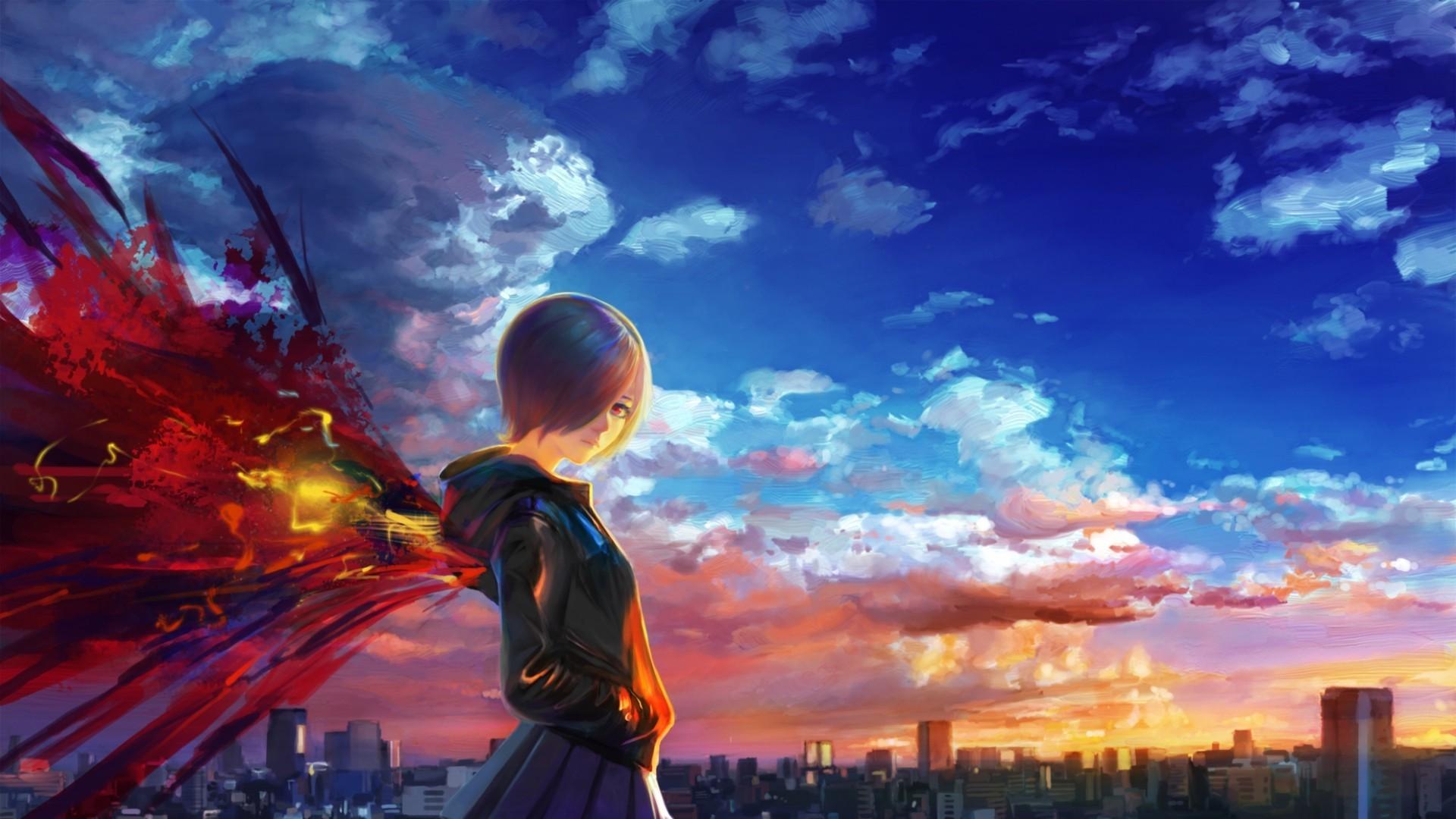 Res: 1920x1080, tokyo ghoul side view kirishima touka sky
