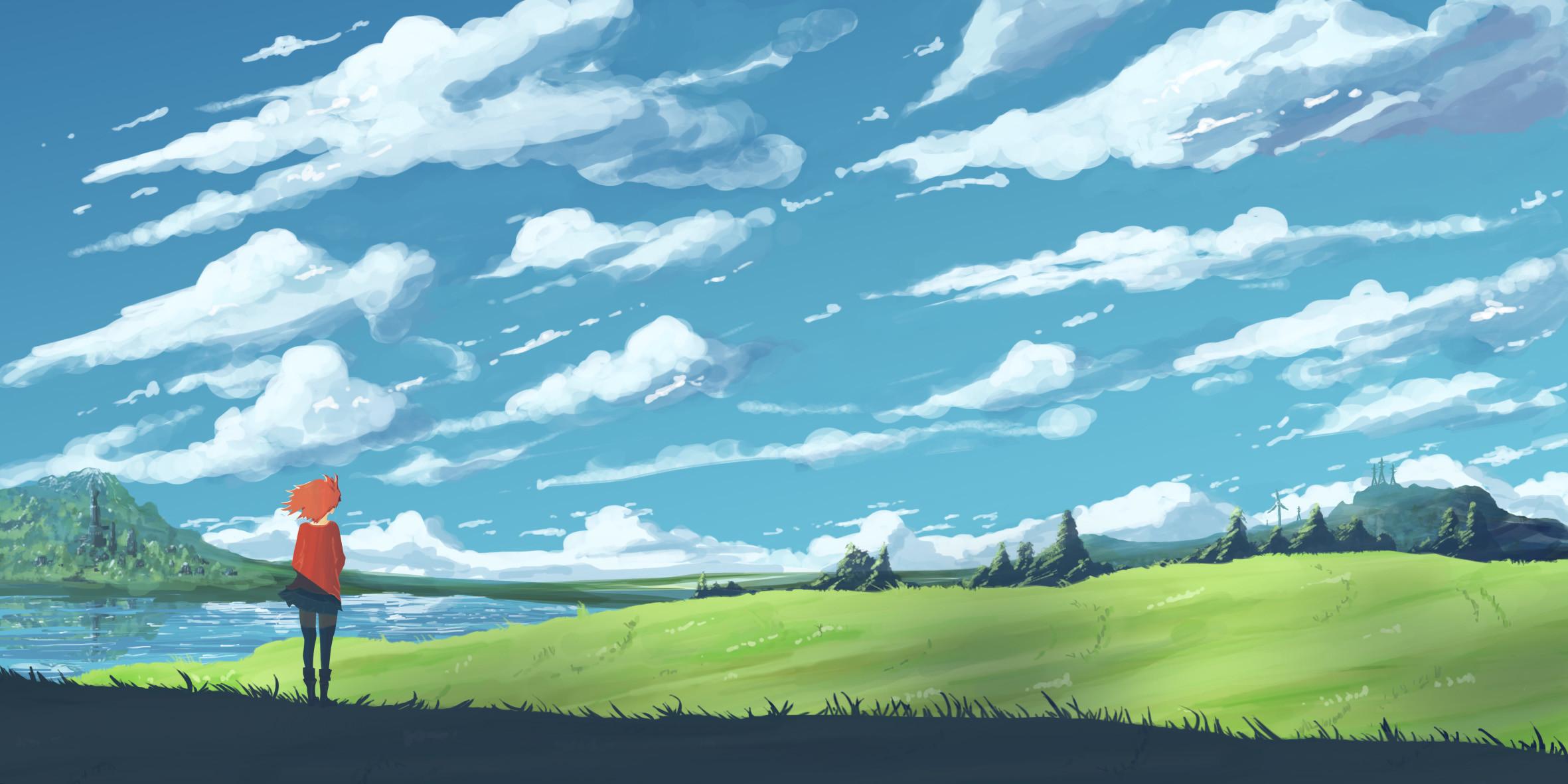Res: 2362x1181, anime scenery girl and landscape download desktop wallpapers hd images mac  desktop wallpapers free hd tablet smart phone 2362×1181 Wallpaper HD