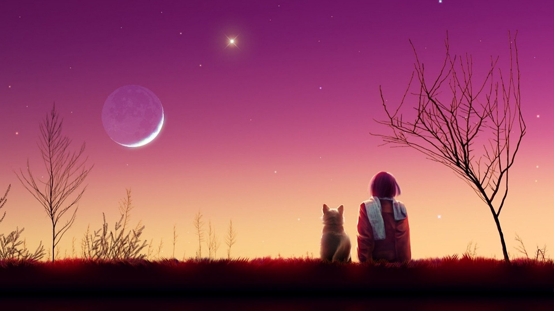 Res: 1920x1080, Download Anime HD Wallpapers Background Image kagaya moon anime girl cat  sunset nature 99554