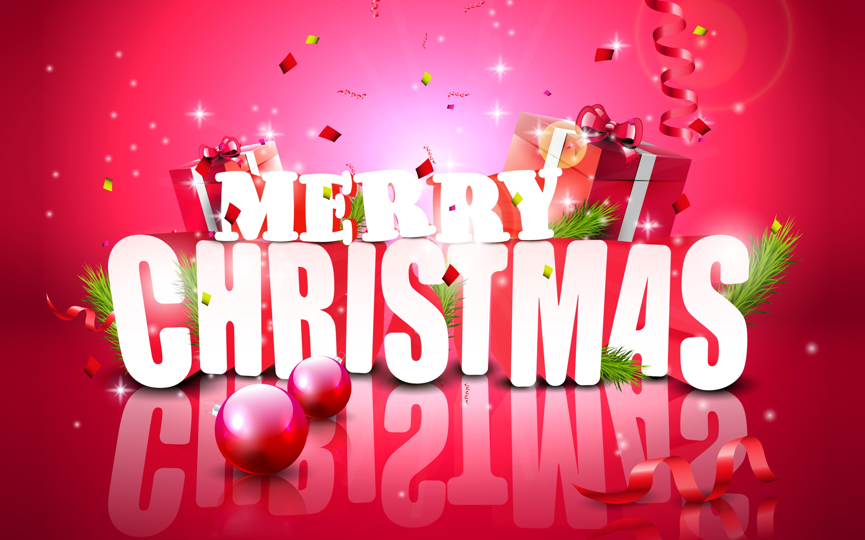 Res: 2880x1800,  Christmas glossy decoration on red background · Download · HD  Wallpaper ...