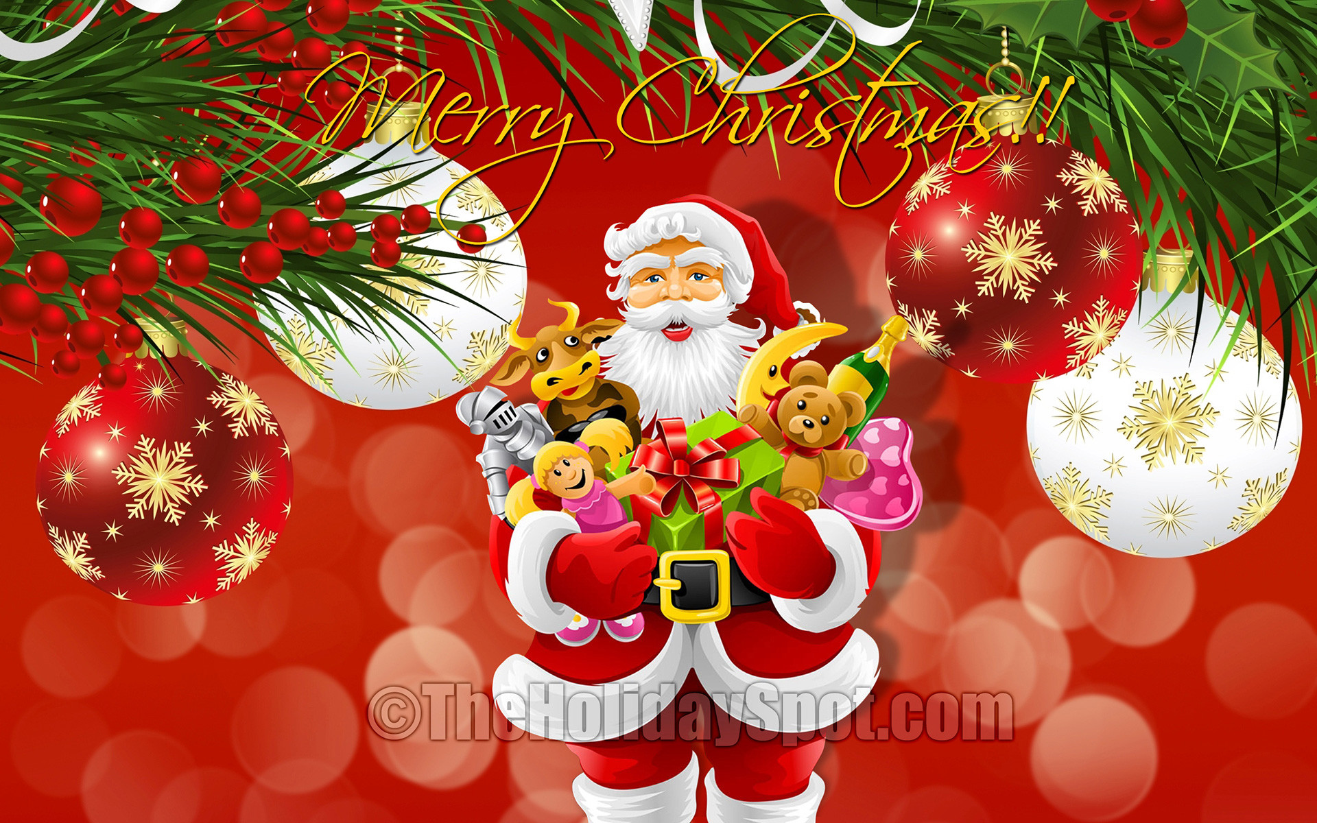 Res: 1920x1200, Santa with Toys in Christmas Wallpaper