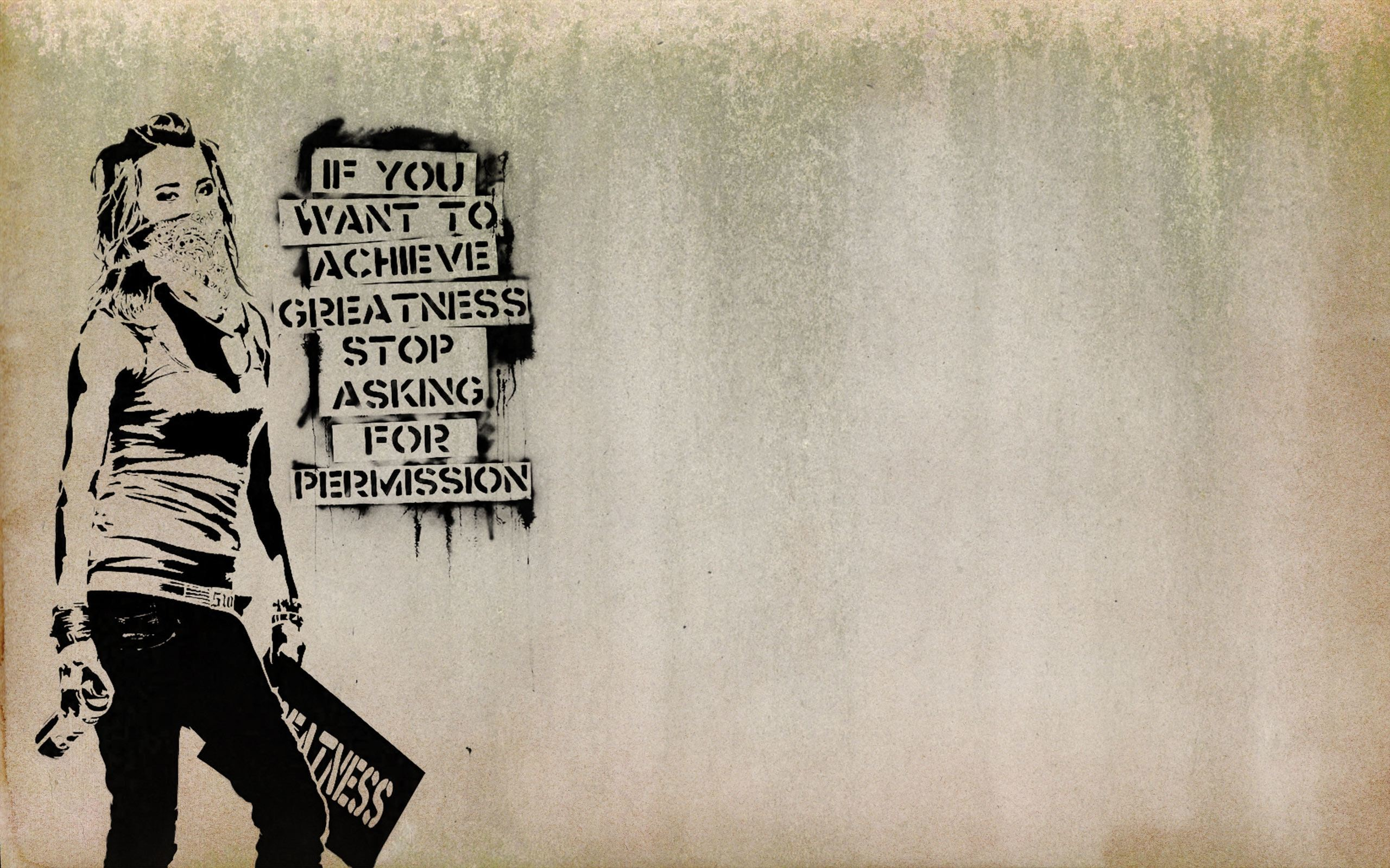 Res: 2560x1600, This Banksy-style wallpaper is perfect for artists and other creative types.