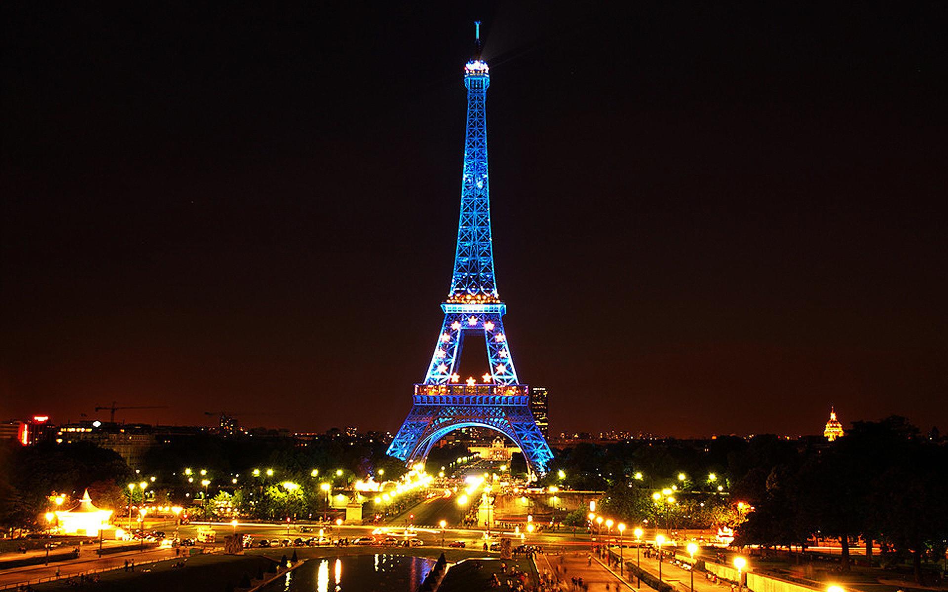 Res: 1920x1200, Man Made - Eiffel Tower Man Made Night Monument Paris Light Blue Wallpaper