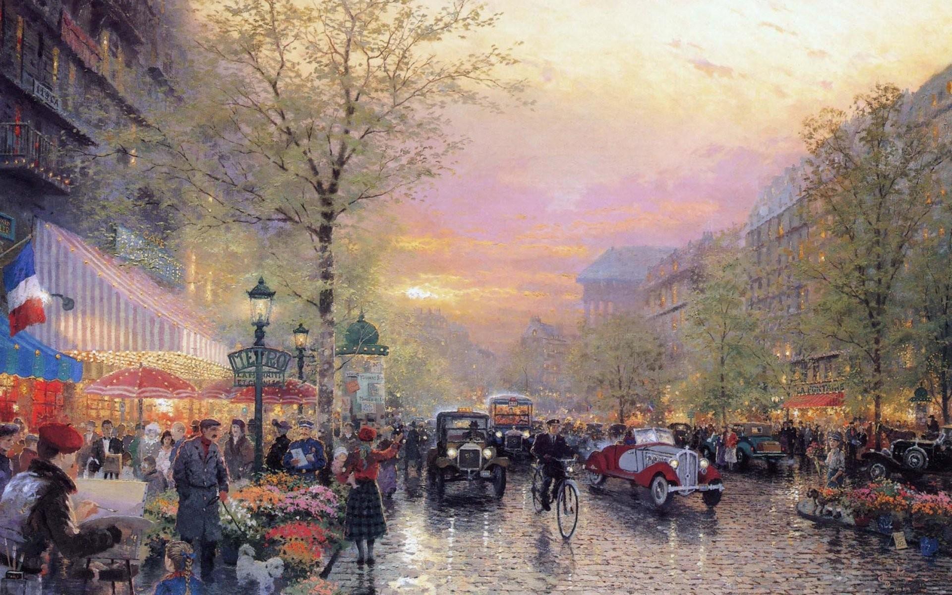 Res: 1920x1200, paris city of lights le boulevard des lumieres at dusk thomas kinkade art  painting france city