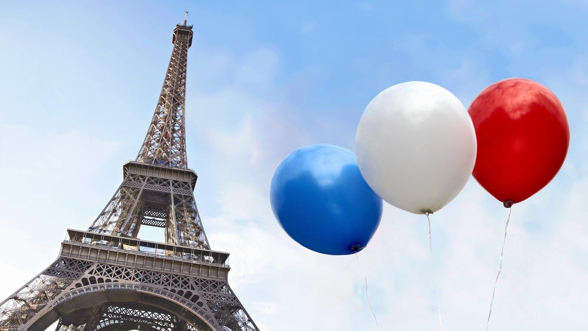 Res: 1920x1080, Wallpaper eiffel tower balloon flag france paris desktop wallpaper