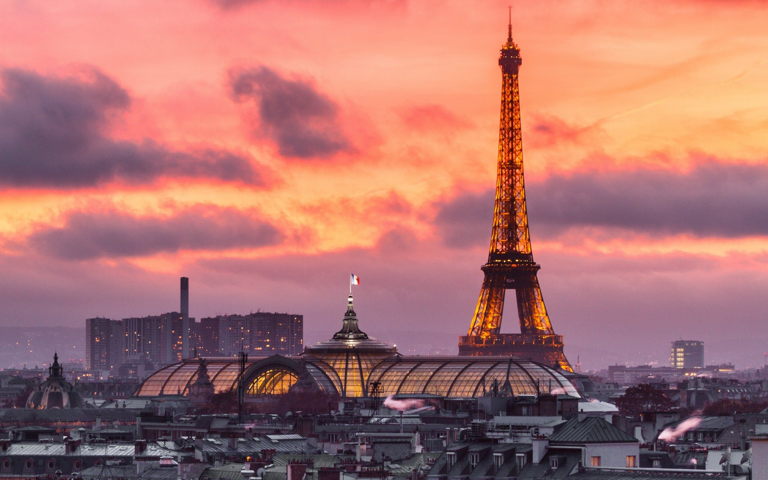 Res: 2560x1600, Download wallpapers evening, Paris, France, Eiffel Tower, sunset, France  flag for desktop with resolution . High Quality HD pictures  wallpapers