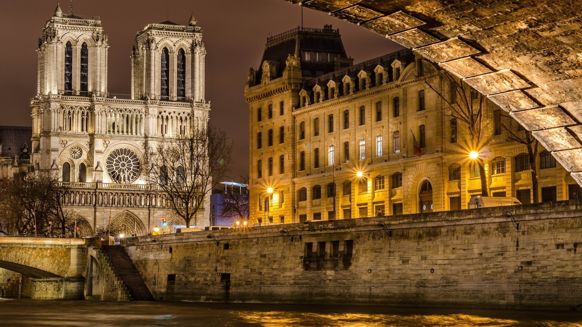 Res: 1920x1080, architecture, Cityscape, City, Building, Old Building, Street, Cathedral,  Street Light, Paris, France, Notre dame, River, Bridge, Trees, Lamps Wallpapers  HD ...