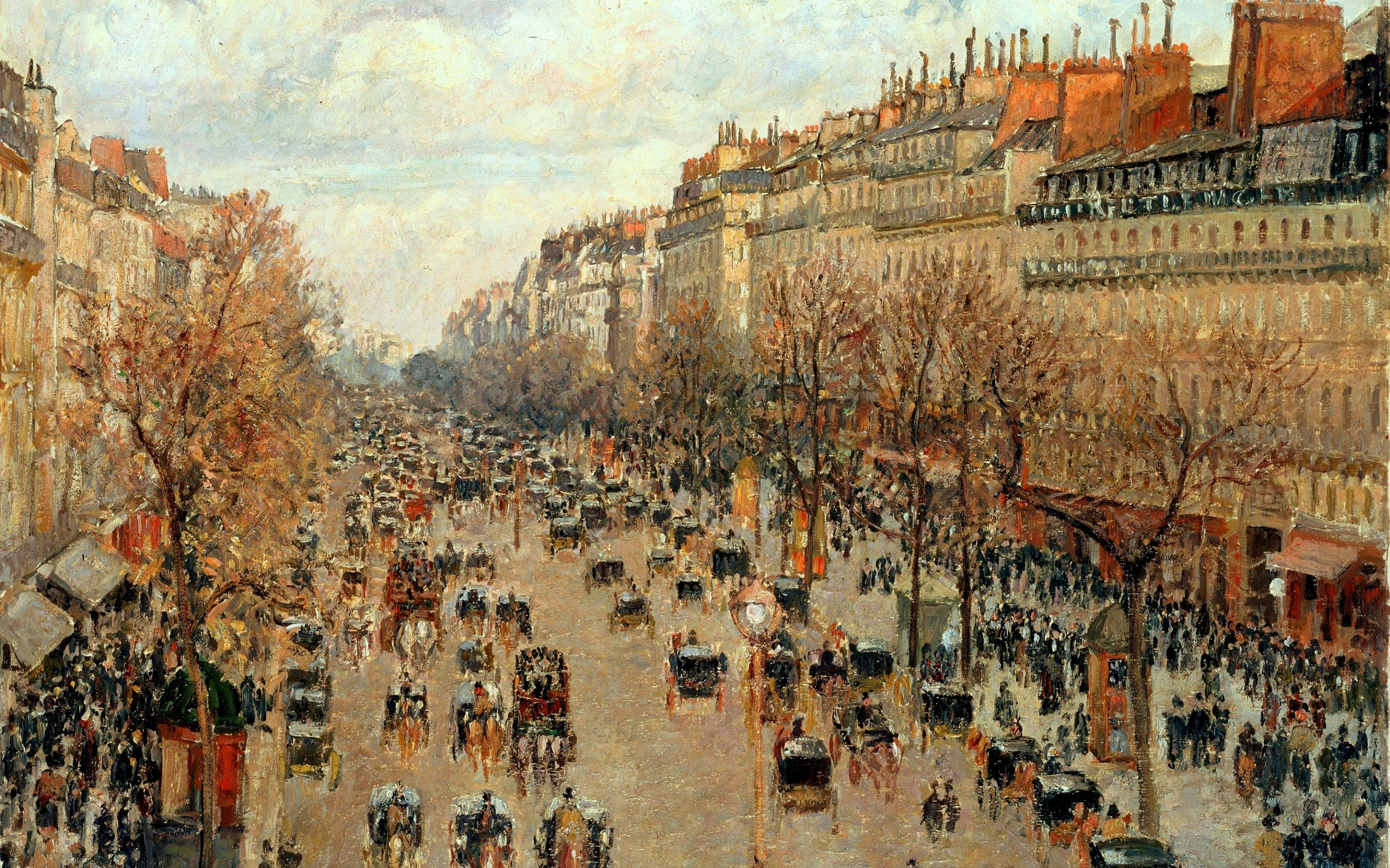 Res: 2880x1800, camille pissarro people crowds artwork painting architecture building paris  montmartre street trees urban horse wallpaper and background