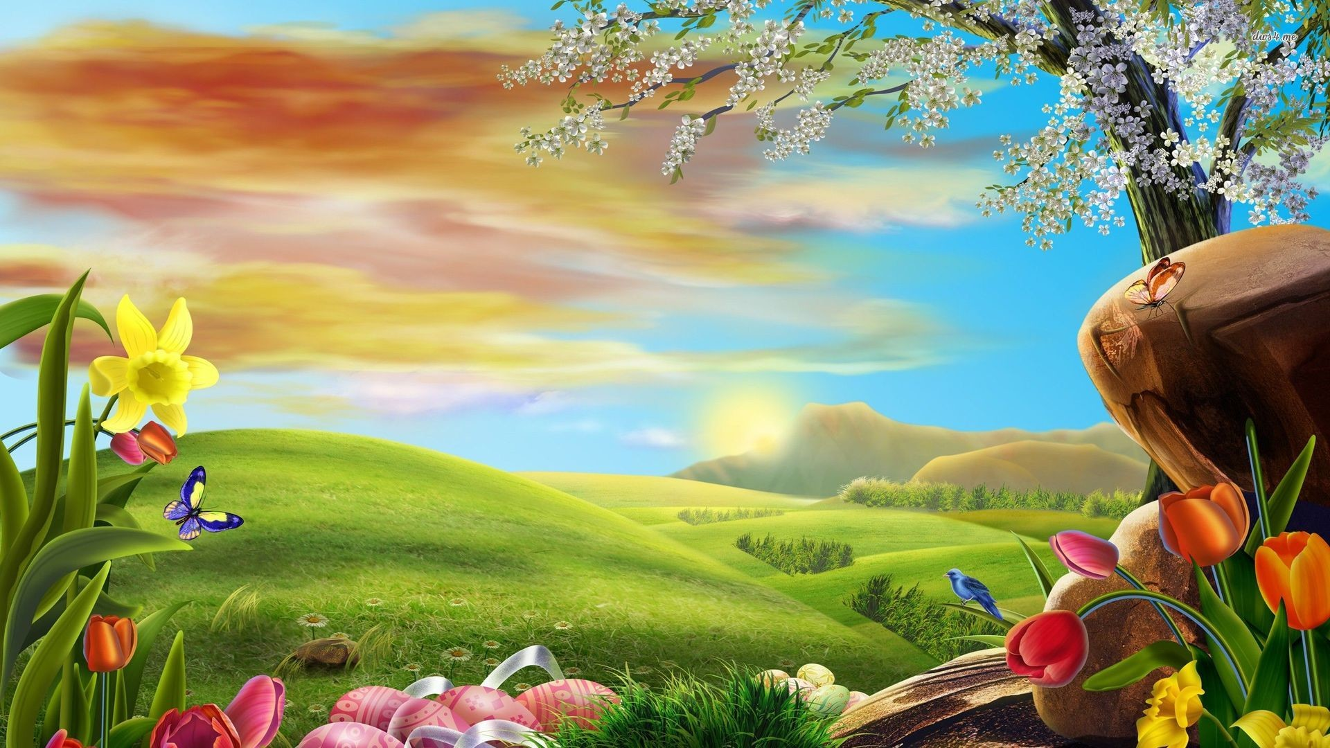 Res: 1920x1080, easter spring wallpaper ; Easter-eggs-in-the-spring-meadow-