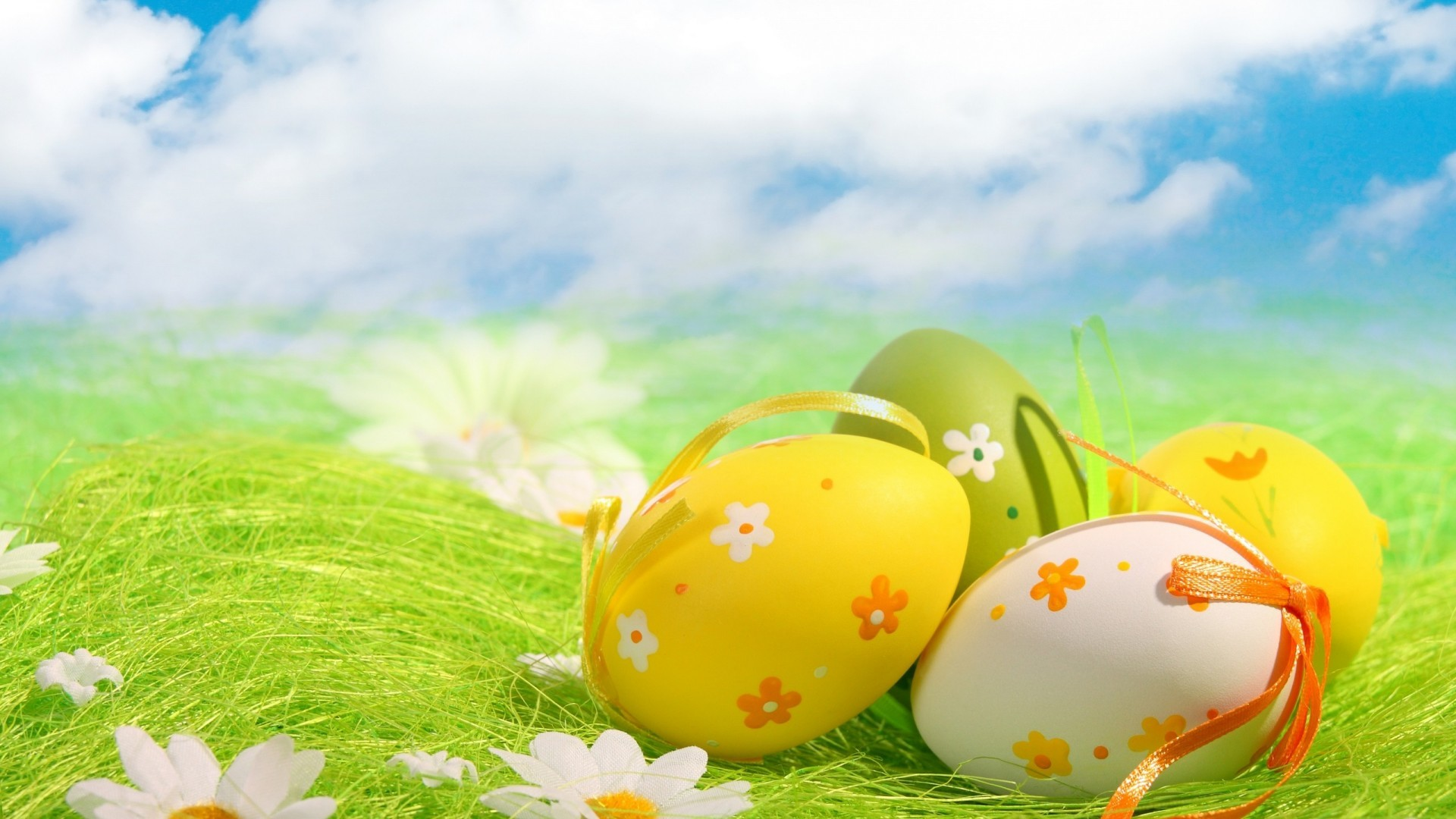 Res: 1920x1080, Beautiful Easter eggs under blue sky HD wallpaper.