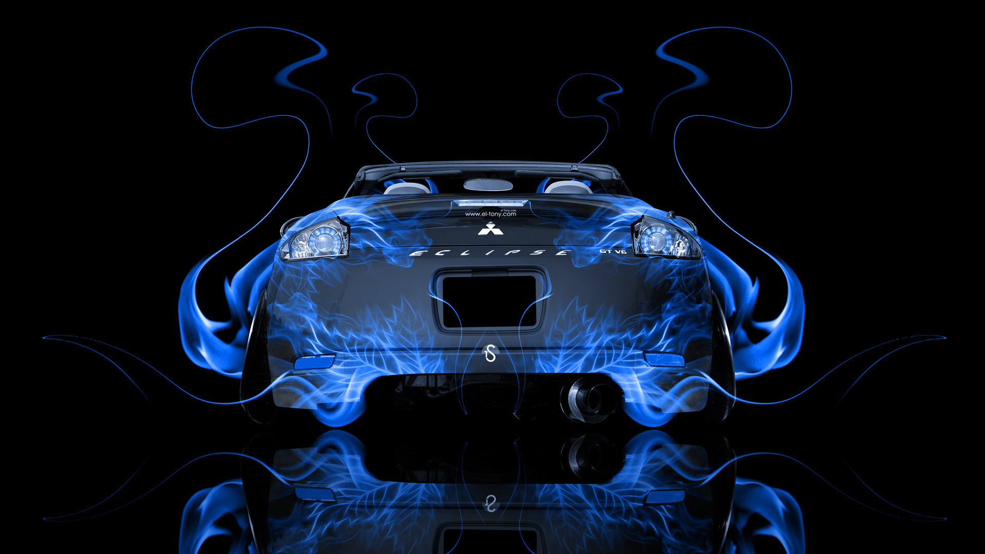Res: 1920x1080, ... Mitsubishi-Eclipse-JDM-Back-Blue-Fire-Abstract-Car- ...