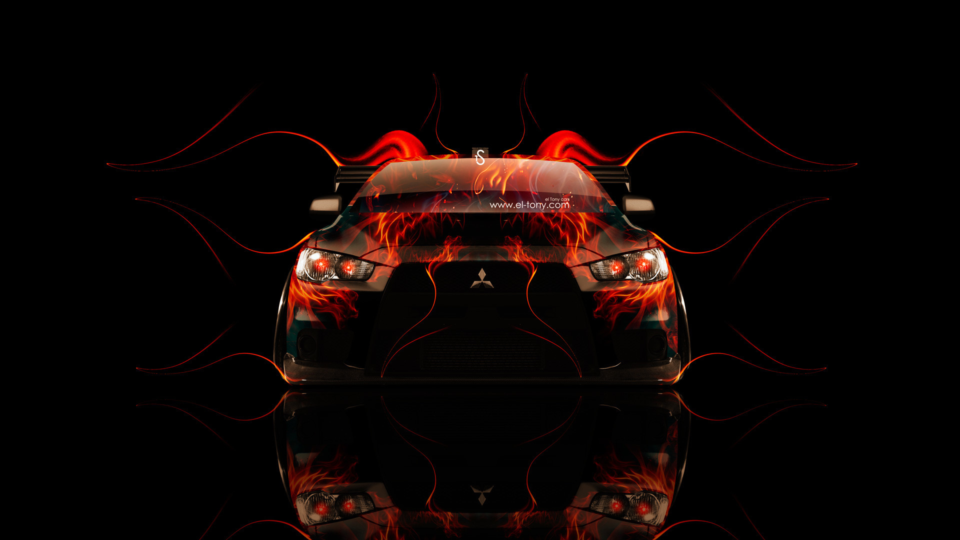 Res: 1920x1080, Mitsubishi-Lancer-Evolution-X-Tuning-Front-Fire-Car-