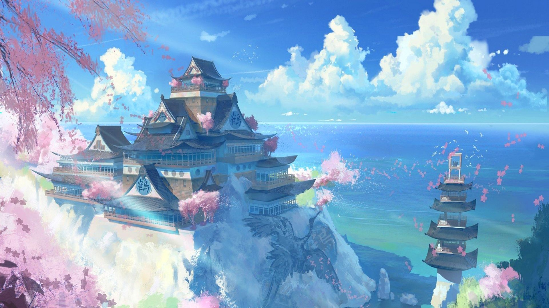 Res: 1920x1080, Free Japan Temple Scenery Anime Manga, computer desktop wallpapers,  pictures, images
