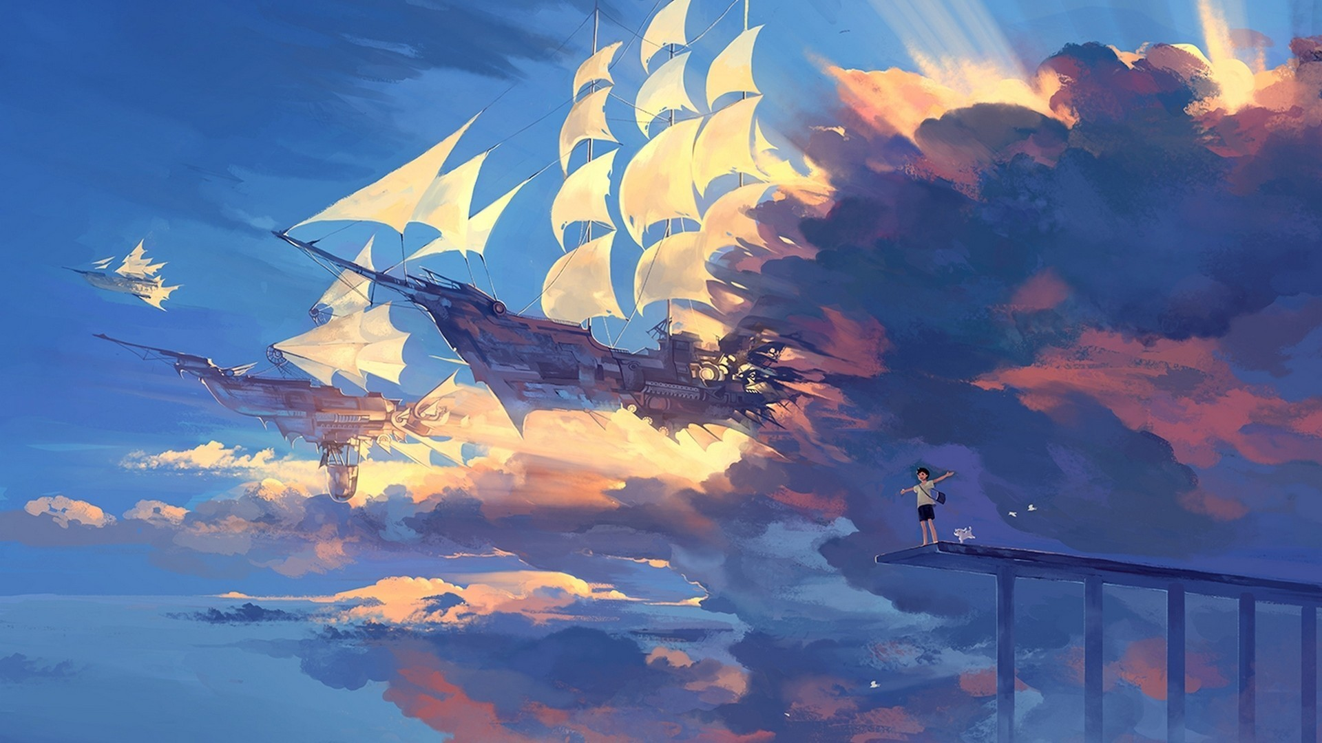 Res: 1920x1080, hanyijie sky scenery ship anime art 1920×1080 hd wallpapers cool images  free amazing desktop wallpapers mac desktop images 1080p display 1920×1080  Wallpaper ...