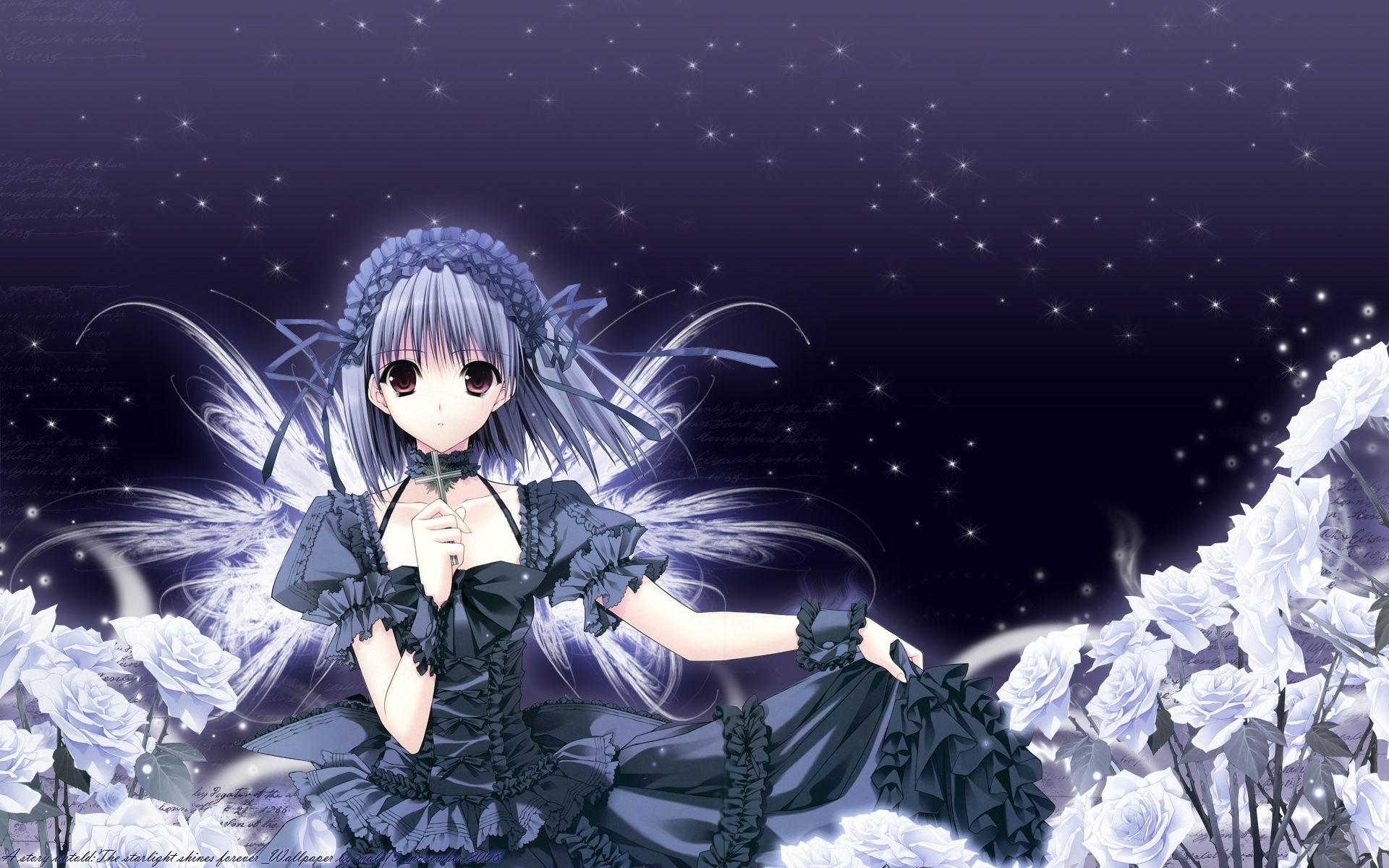 Res: 1920x1200, Anime Girl Black Dress and White Roses HD Wallpaper