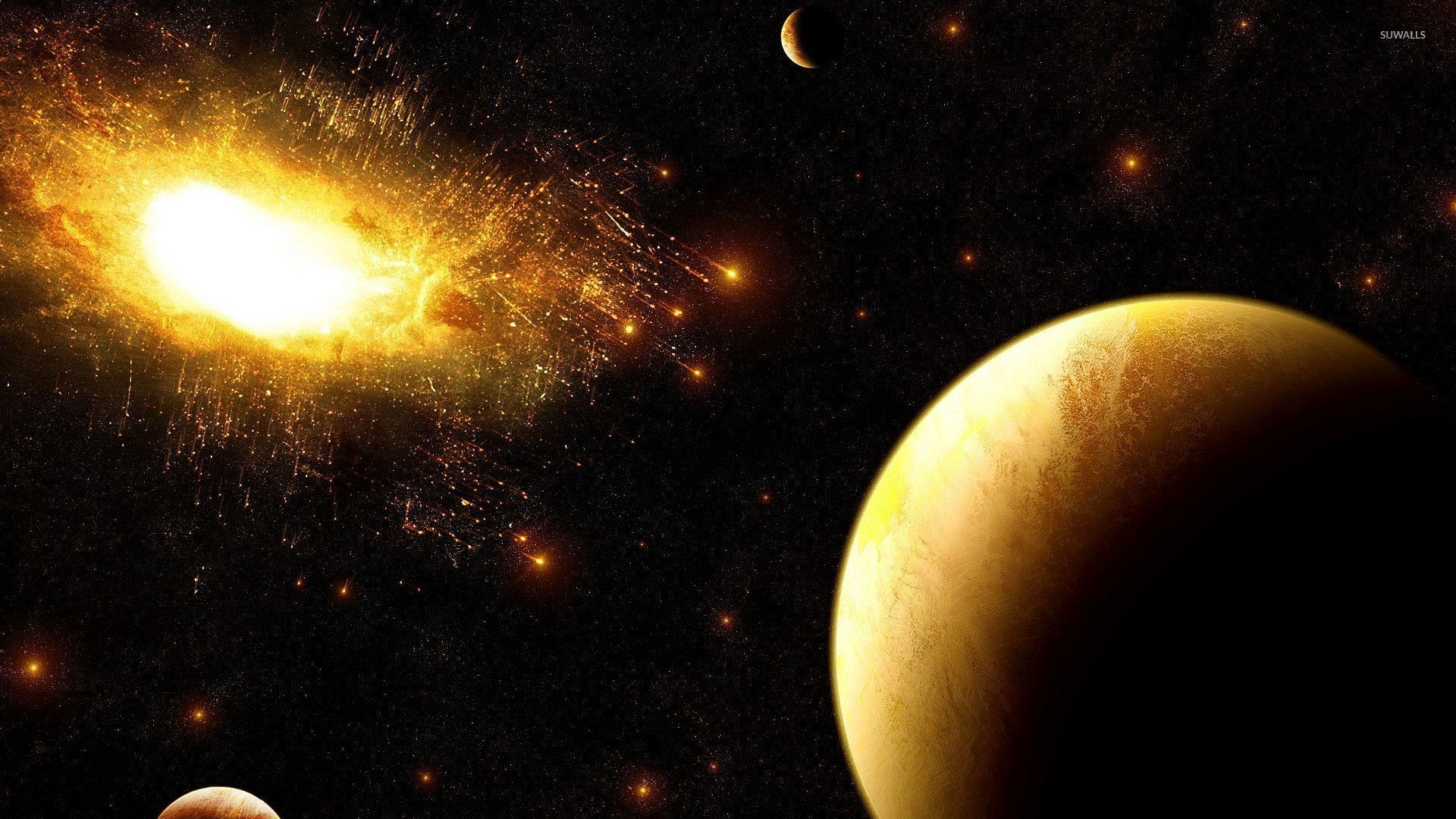 Res: 1920x1080, Golden explosion in the dark space wallpaper