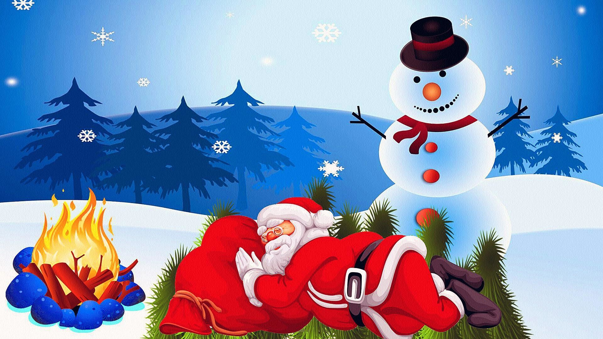 Res: 1920x1080, Lazy Santa Claus And A Snowman Wallpaper | Wallpaper Studio 10 | Tens of  thousands HD and UltraHD wallpapers for Android, Windows and Xbox