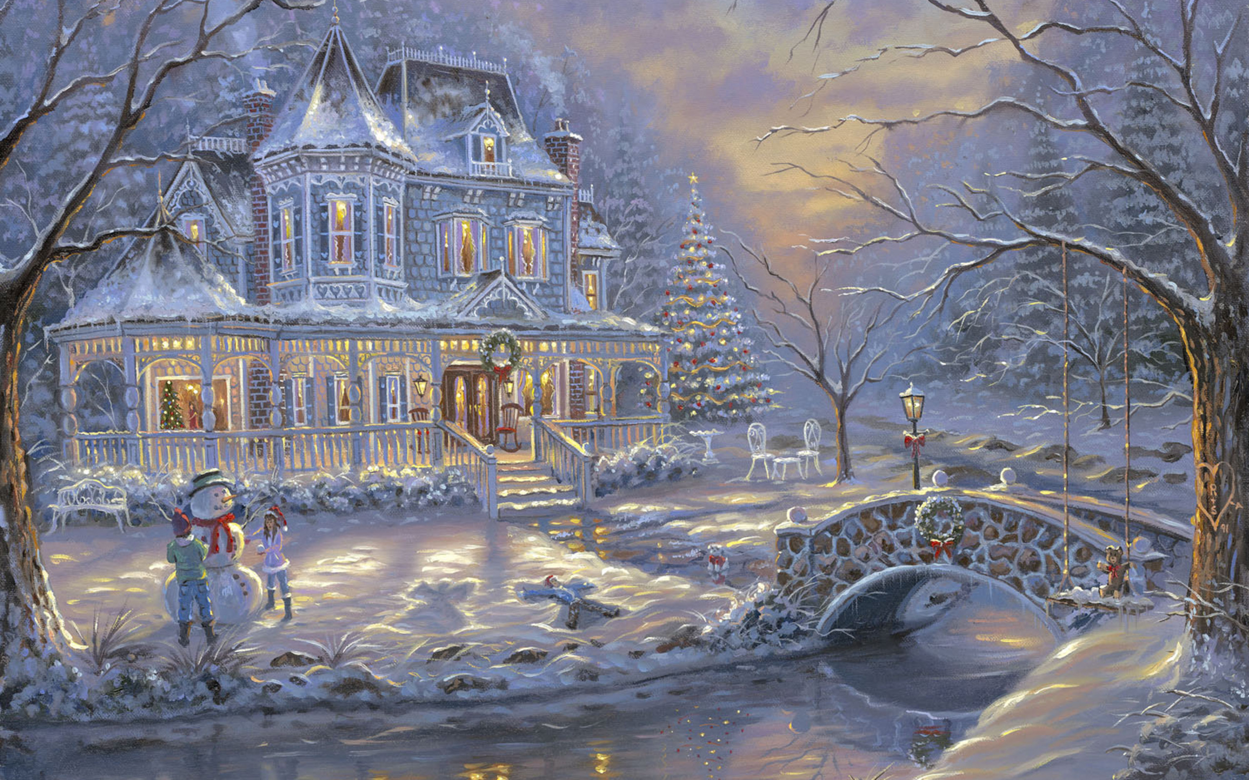 Res: 2560x1600, Painting, Cottage, Tree, Snowman, Children, River, Hd, Wallpaper,