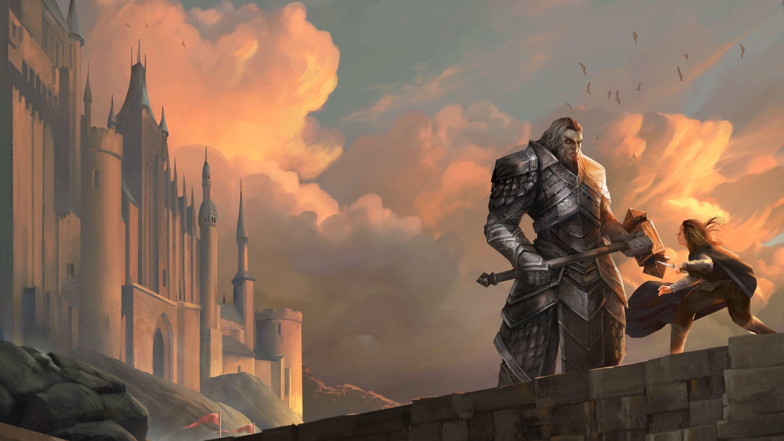 Res: 2560x1440, Nightblade Epic Battle Scene Landscape Wallpaper